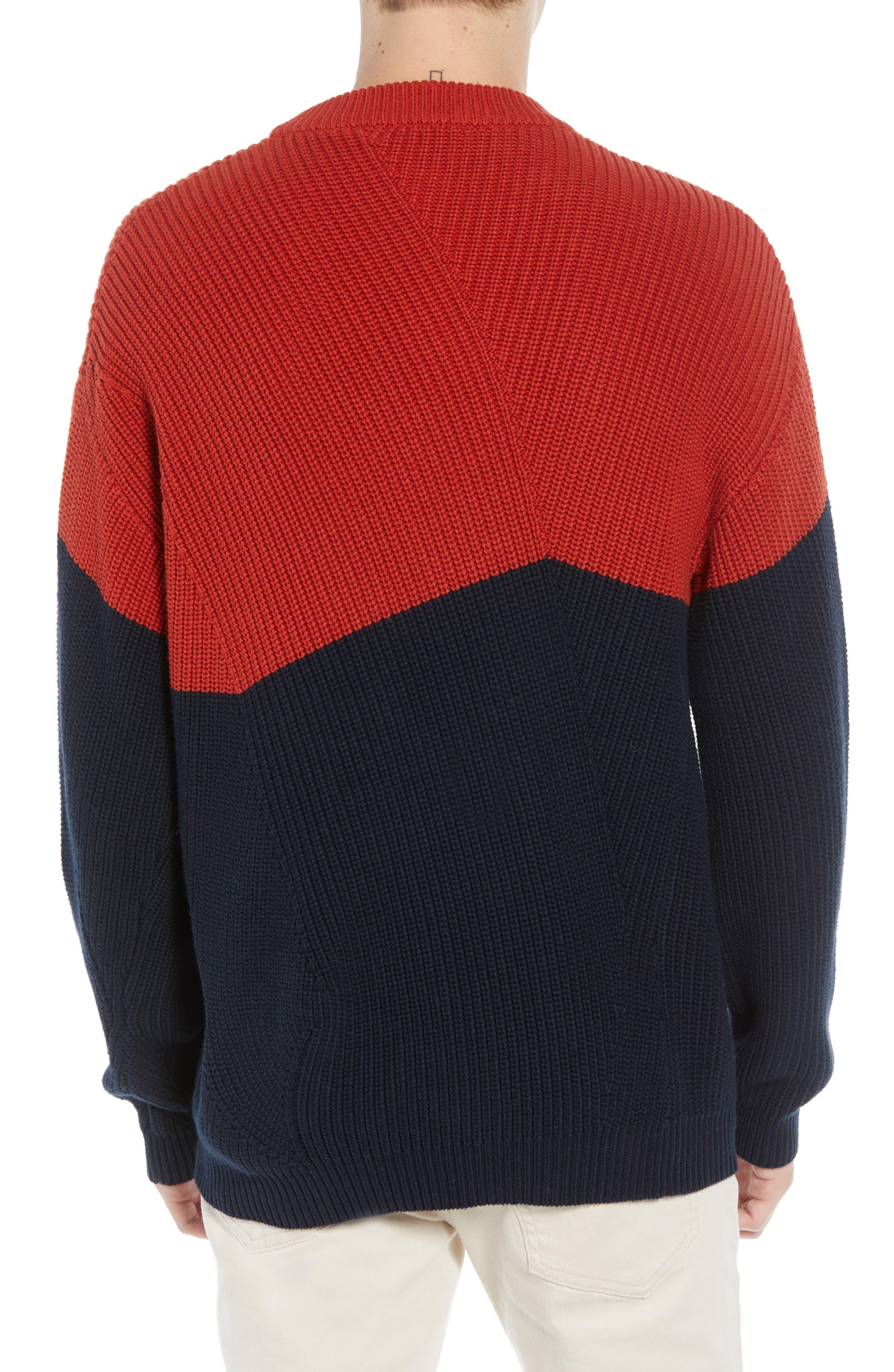 Asymmetrical Colorblock Sweater,                             Alternate thumbnail 2, color,                             ROOIBOS TEA