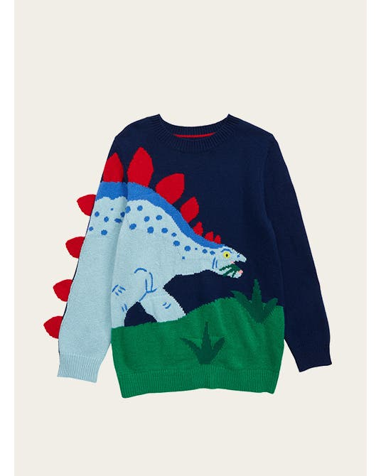 Cozy for the kiddos: a color-blocked cardigan; color-blocked sweatpants; a sweater with a dinosaur on it; a yellow sweater.