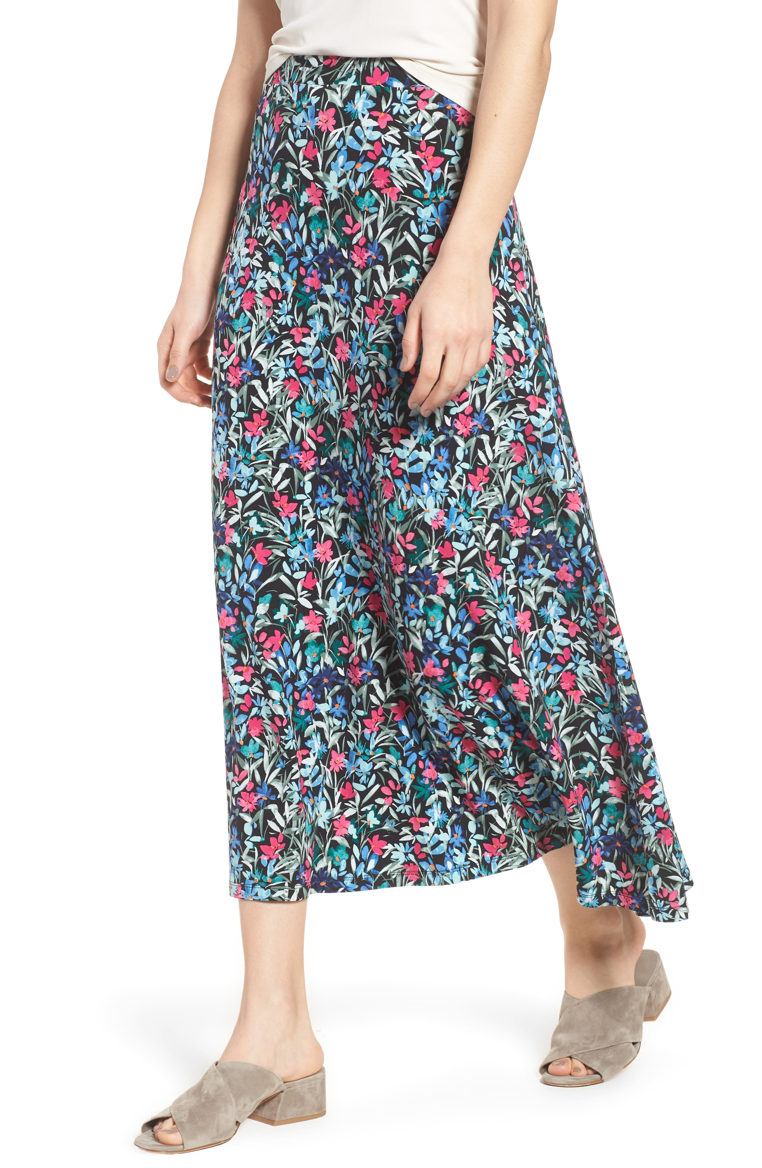 Radiant Flowers Maxi Skirt,                             Main thumbnail 1, color,                             001