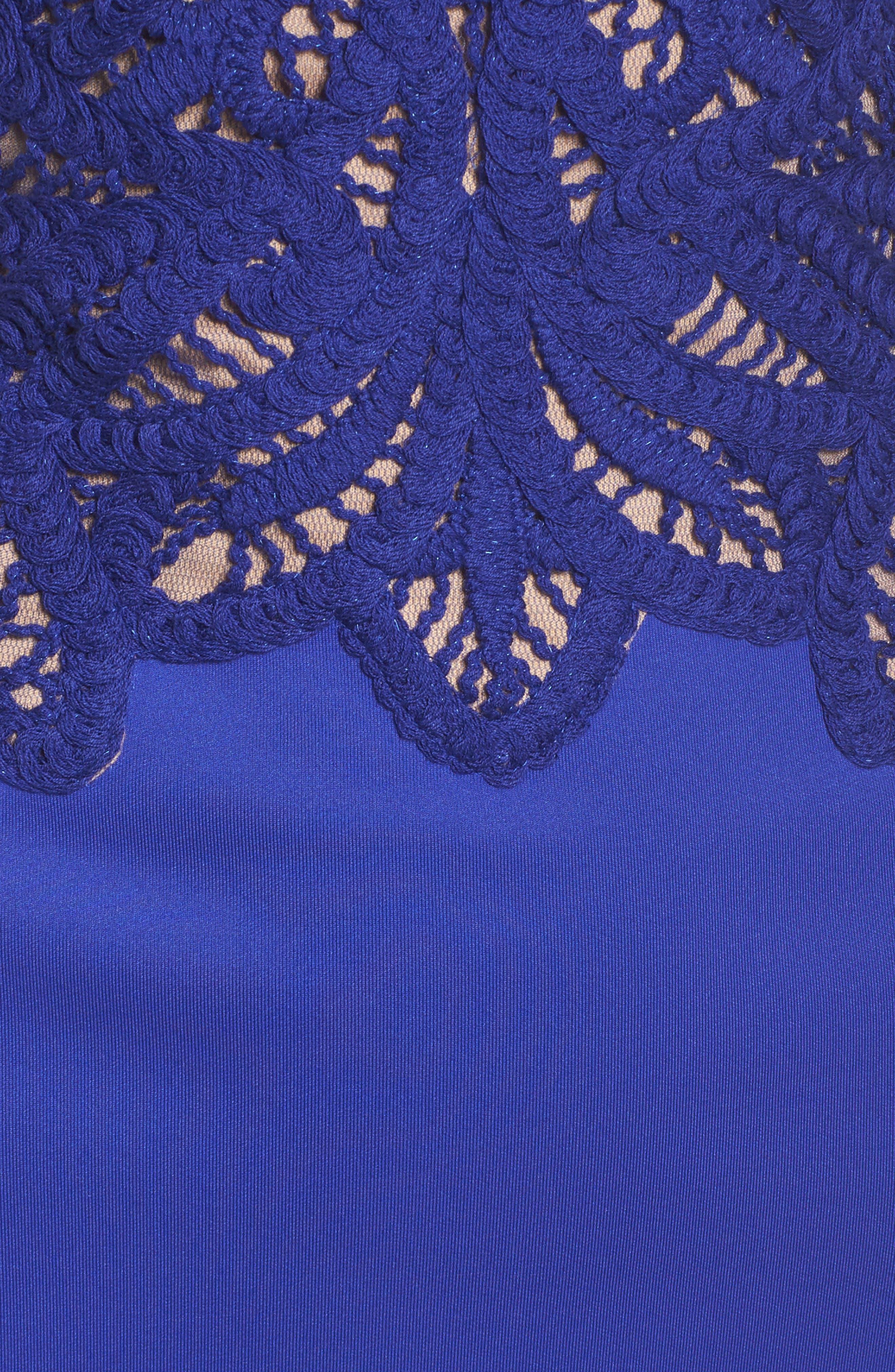 Crochet & Crepe Sheath Dress,                             Alternate thumbnail 5, color,                             404