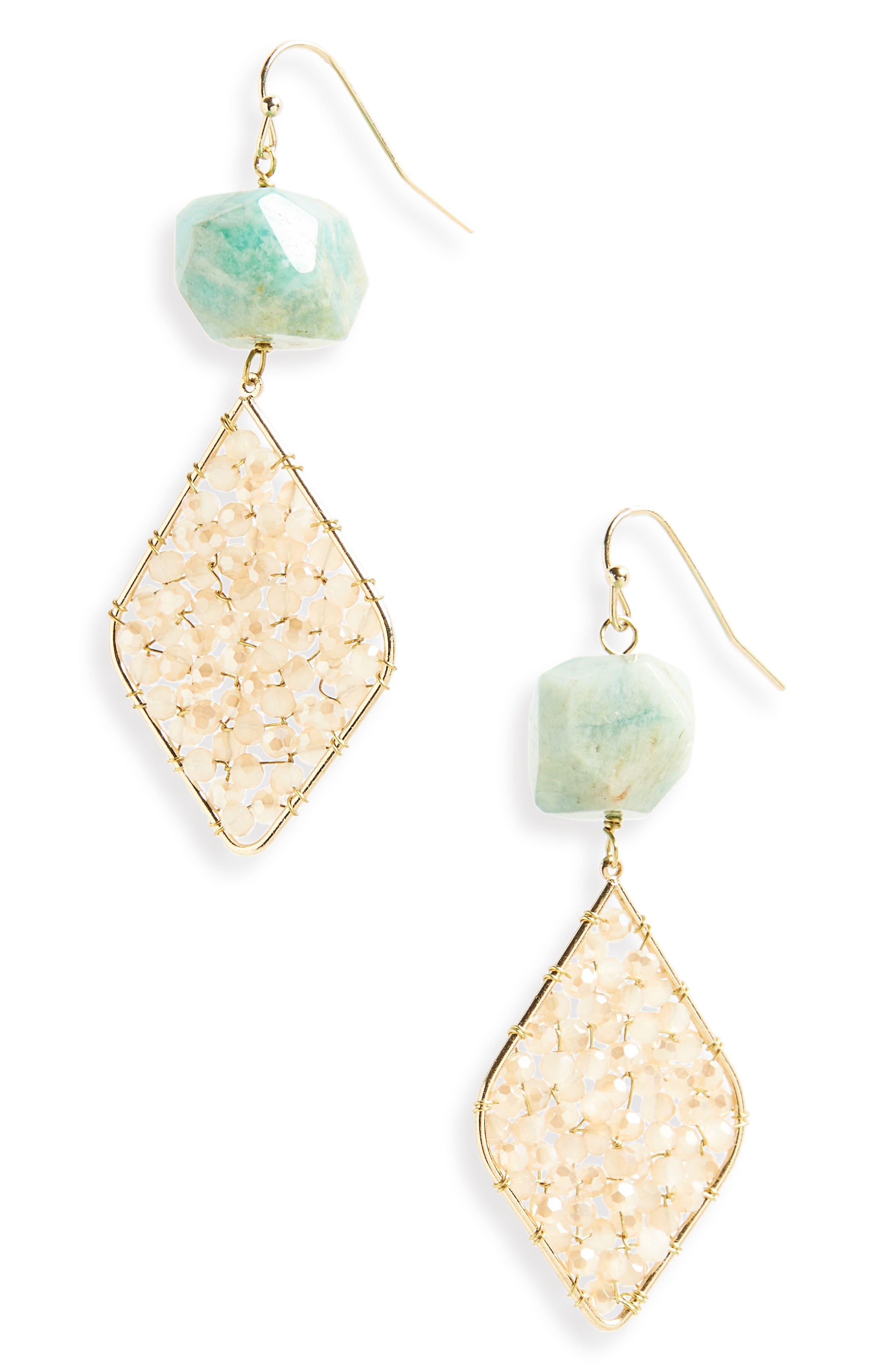Amazonite Stone Drop Earrings,                             Main thumbnail 1, color,                             710