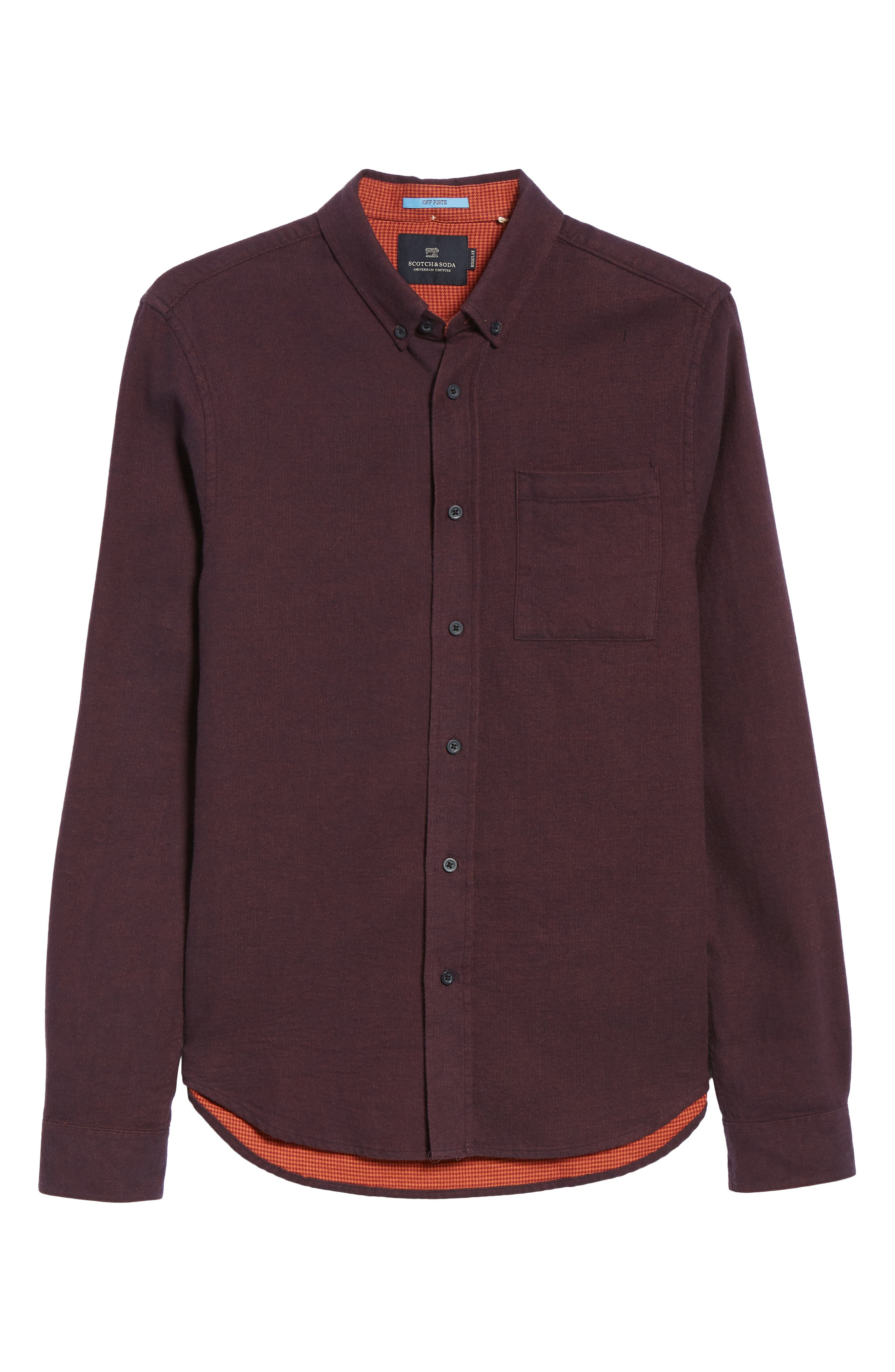 Regular Fit Button Down Sport Shirt,                             Alternate thumbnail 5, color,                             DEEP PURPLE MELANGE