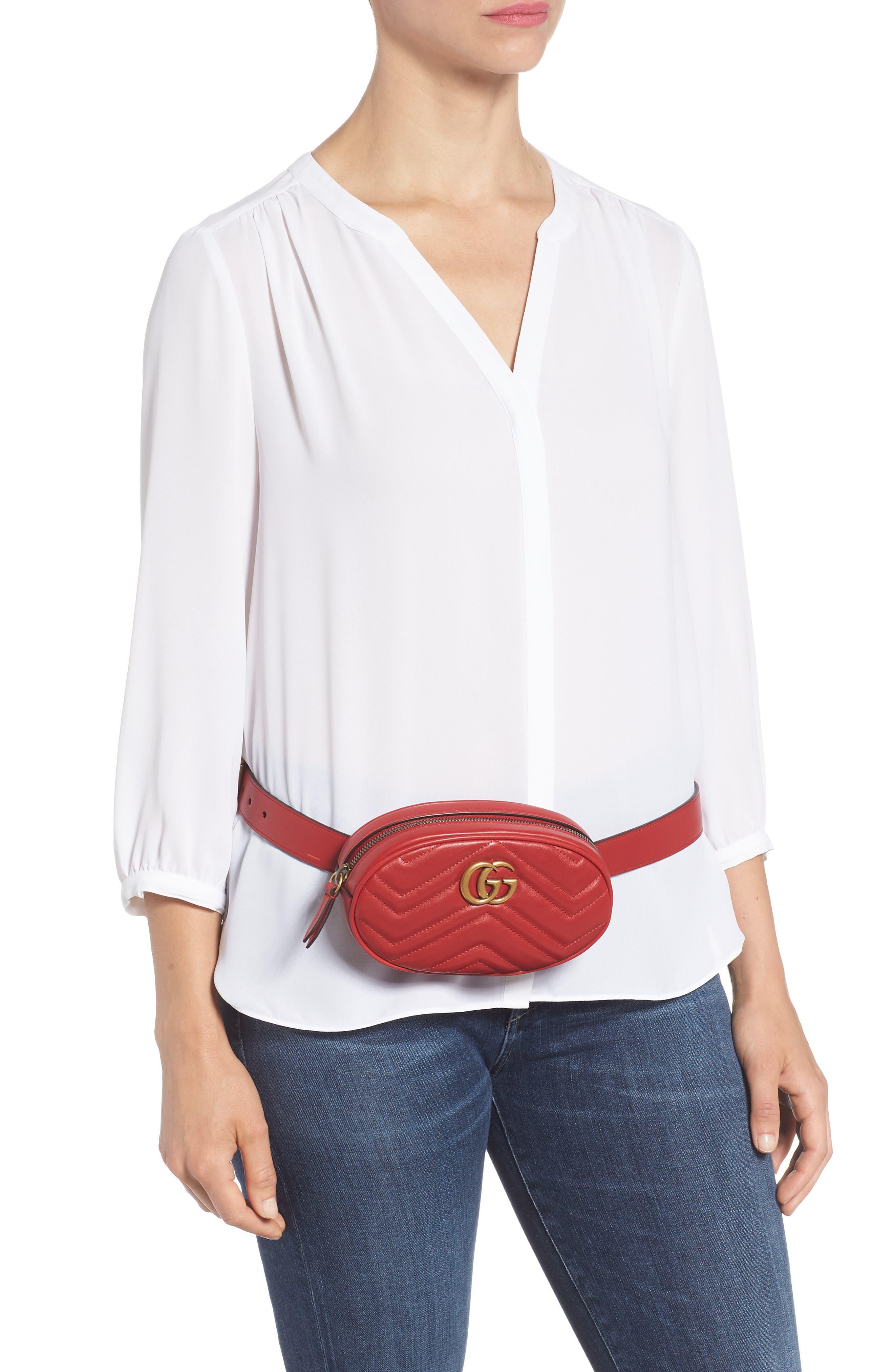 GG Marmont Matelassé Leather Belt Bag,                             Alternate thumbnail 2, color,                             625