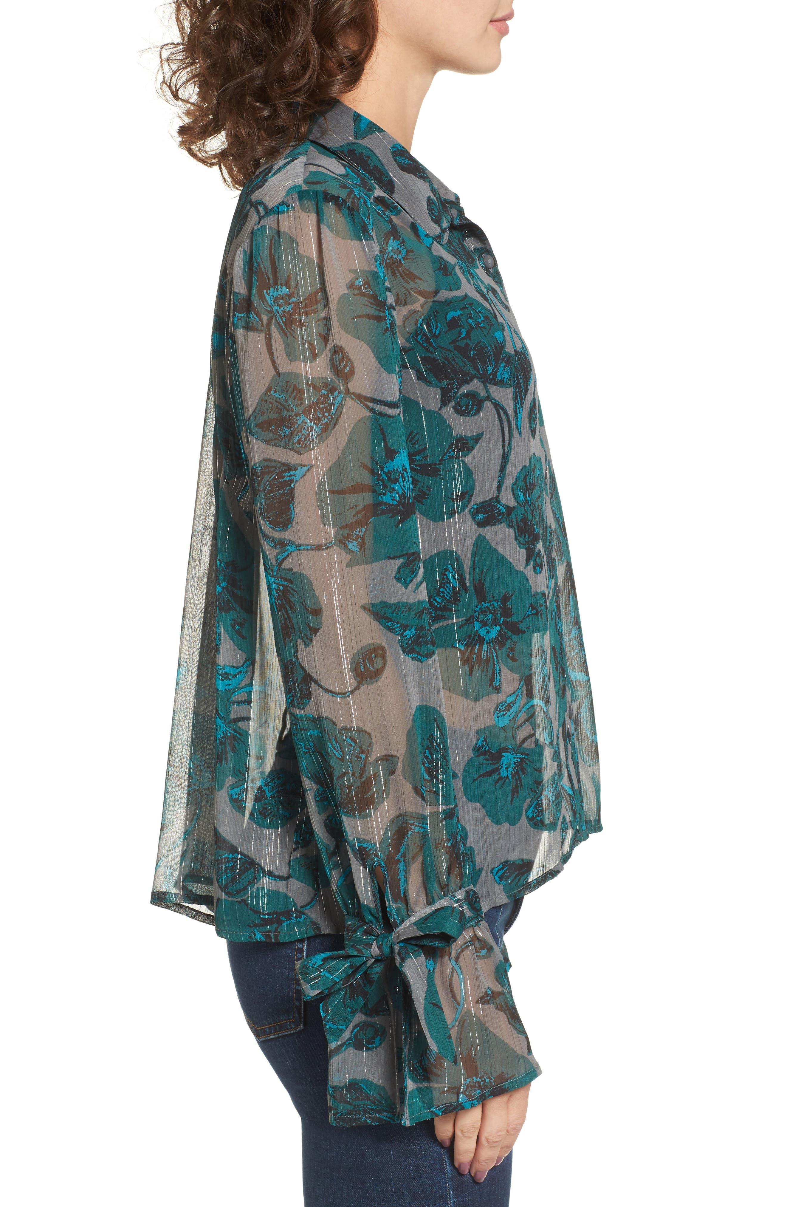 Sheer Metallic Floral Shirt,                             Alternate thumbnail 3, color,                             301