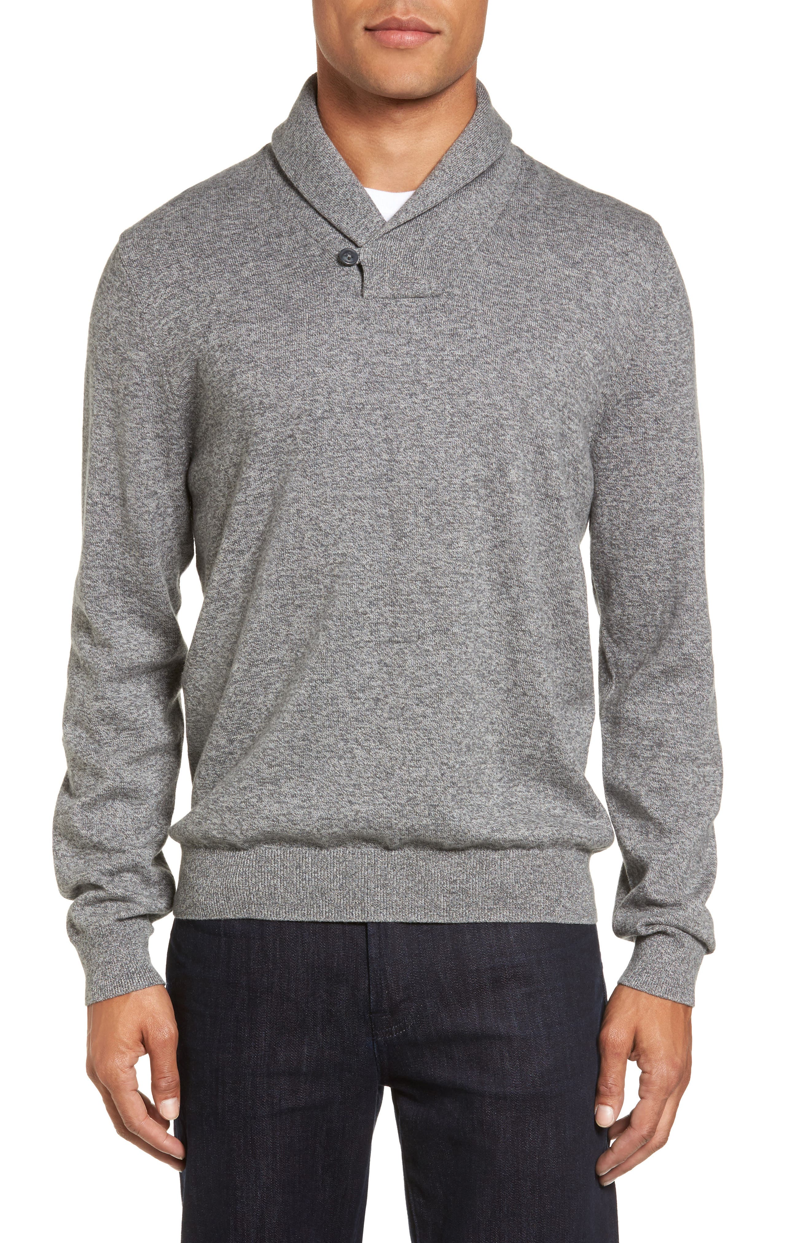Nordstrom Shop Cotton & Cashmere Shawl Collar Sweater, Grey
