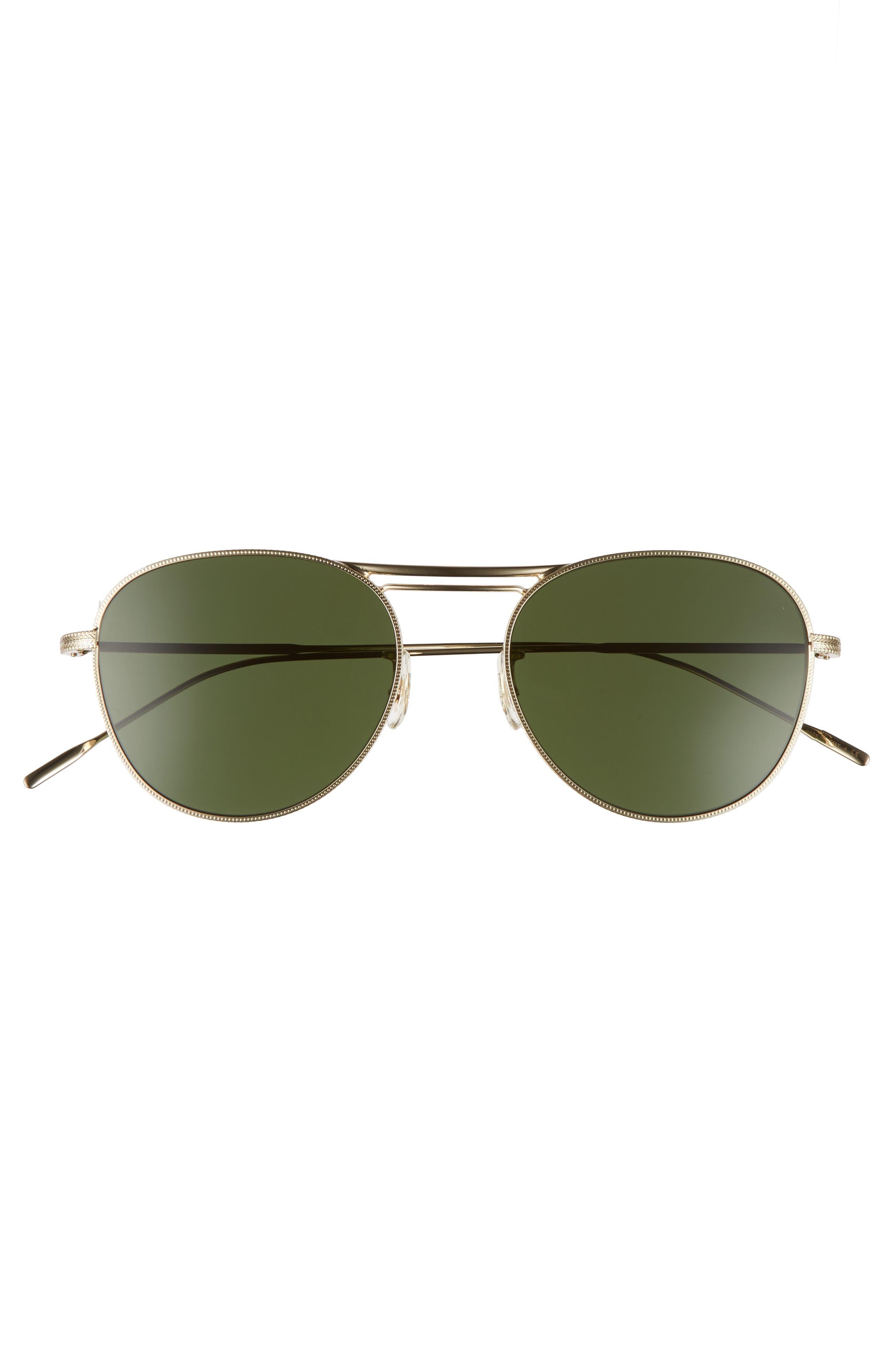 Cade 52mm Mirror Lens Aviator Sunglasses,                             Alternate thumbnail 3, color,                             GOLD/ GREEN