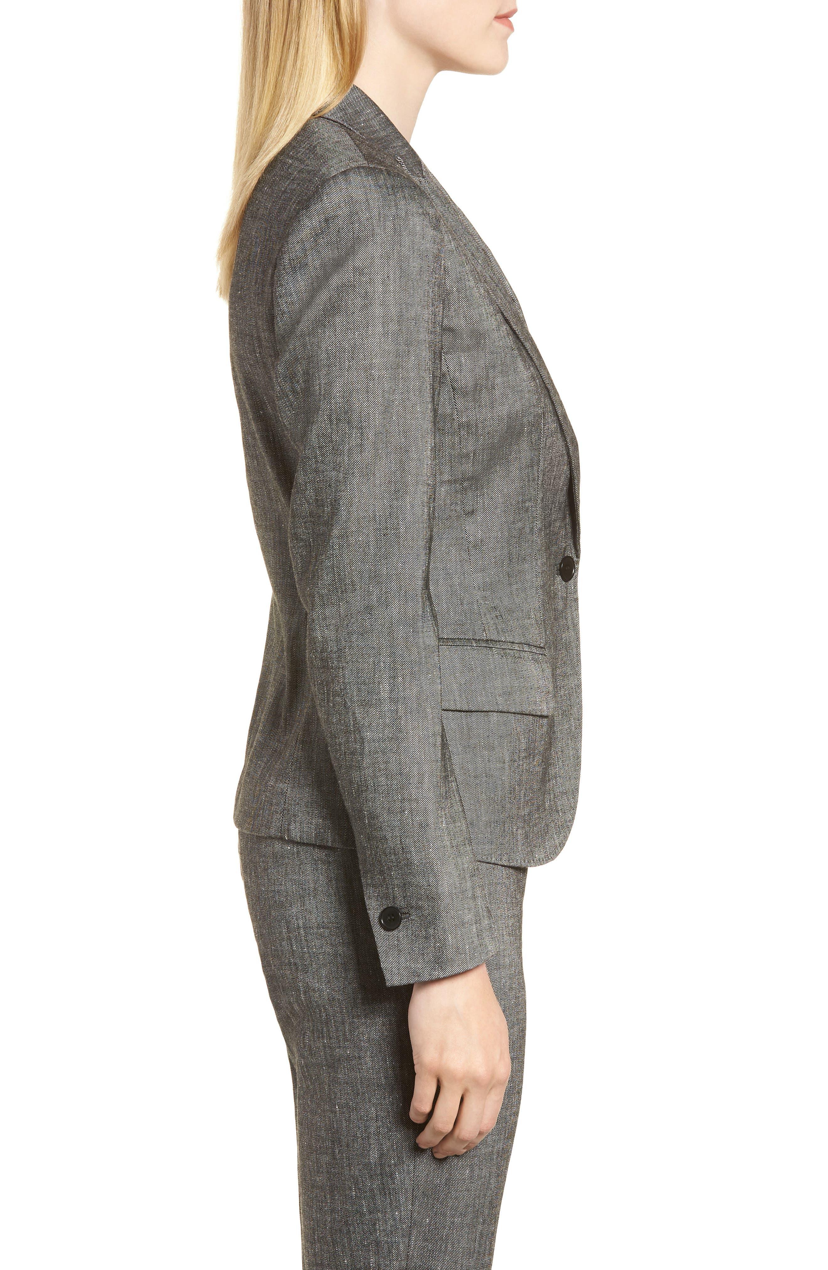 Linen Blend One-Button Suit Jacket,                             Alternate thumbnail 3, color,                             001