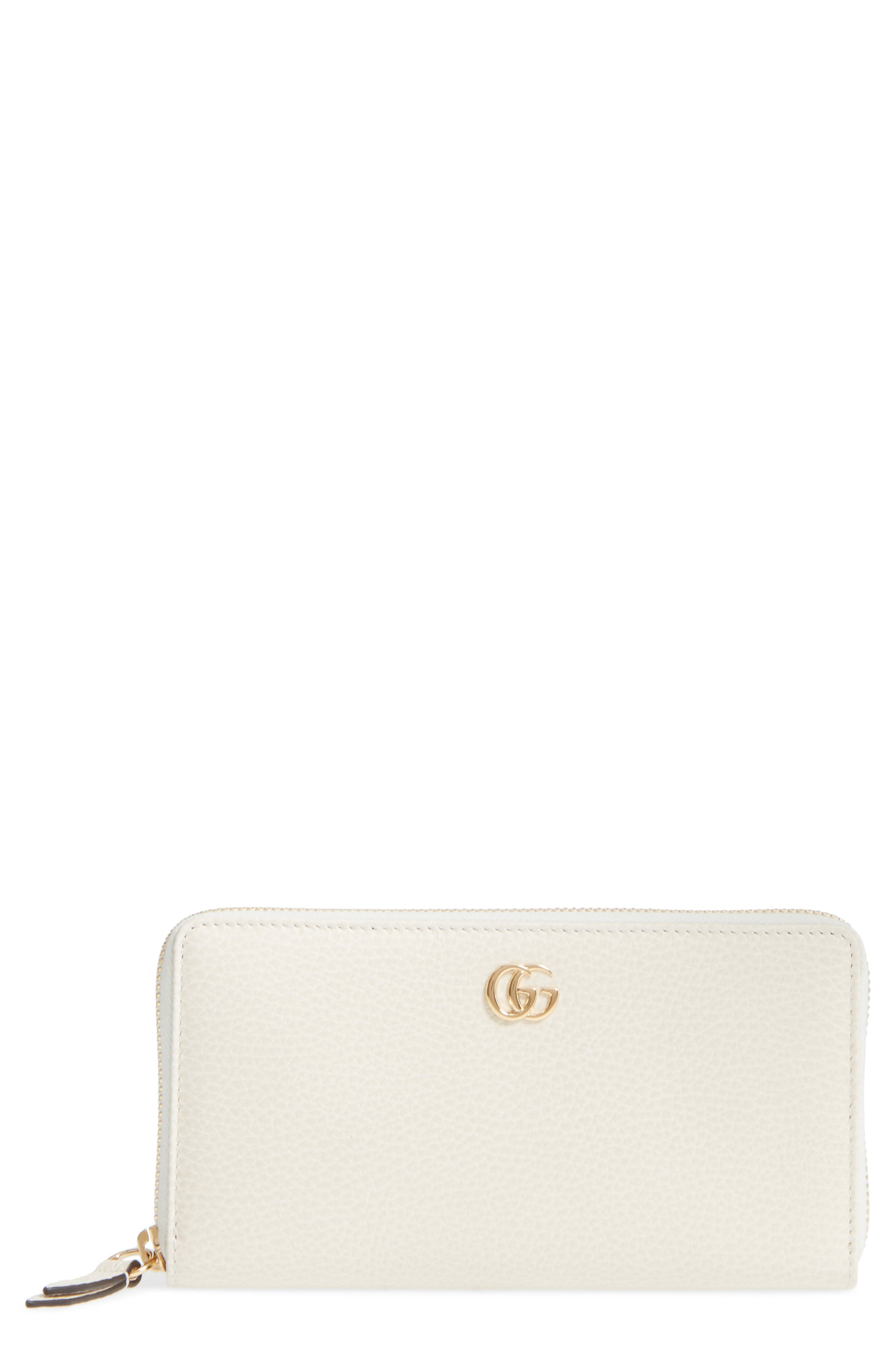 Petite Marmont Leather Zip Around Wallet,                         Main,                         color, MYSTIC WHITE