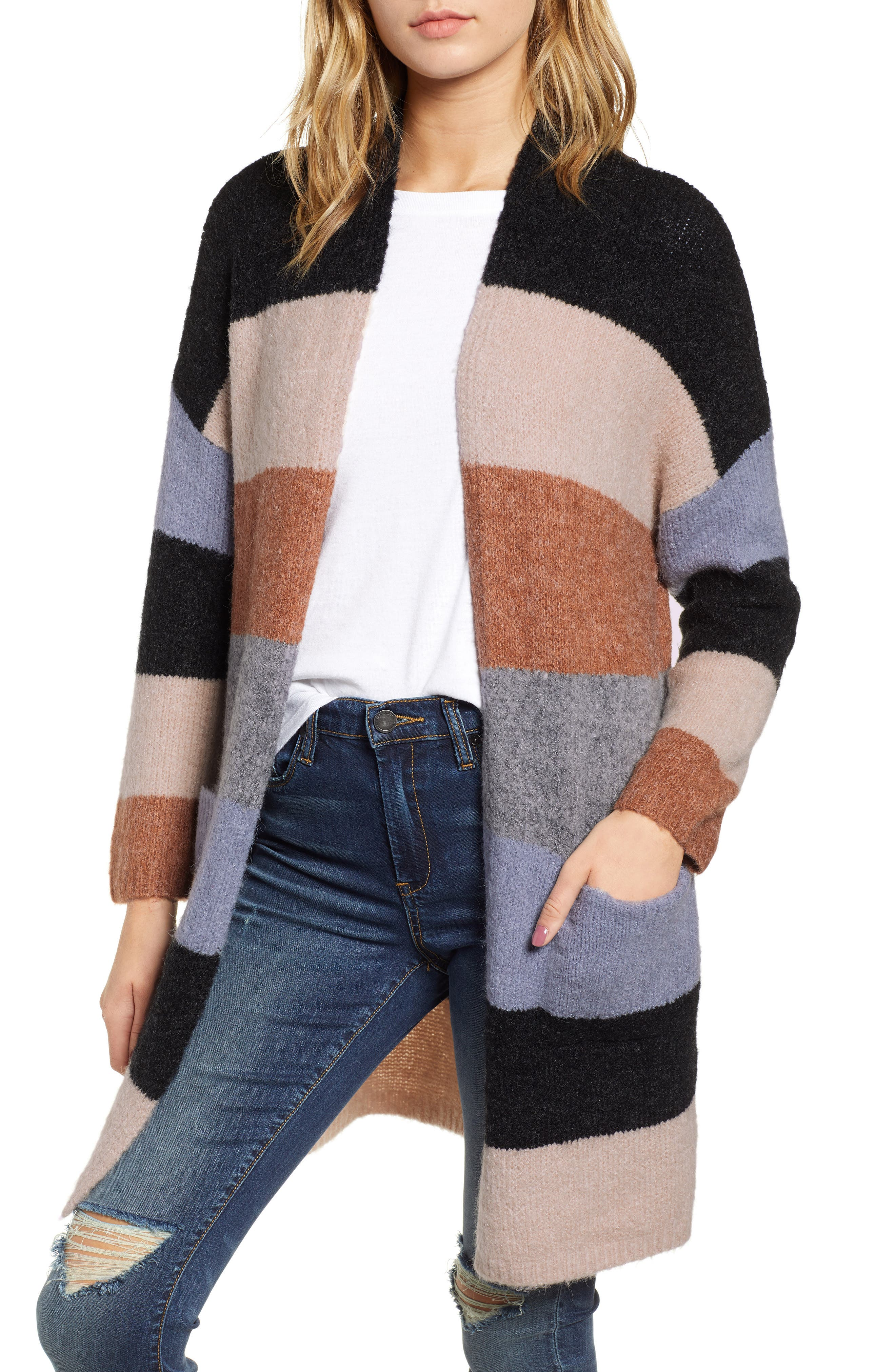 Stripe Long Cardigan, Main, color, 001