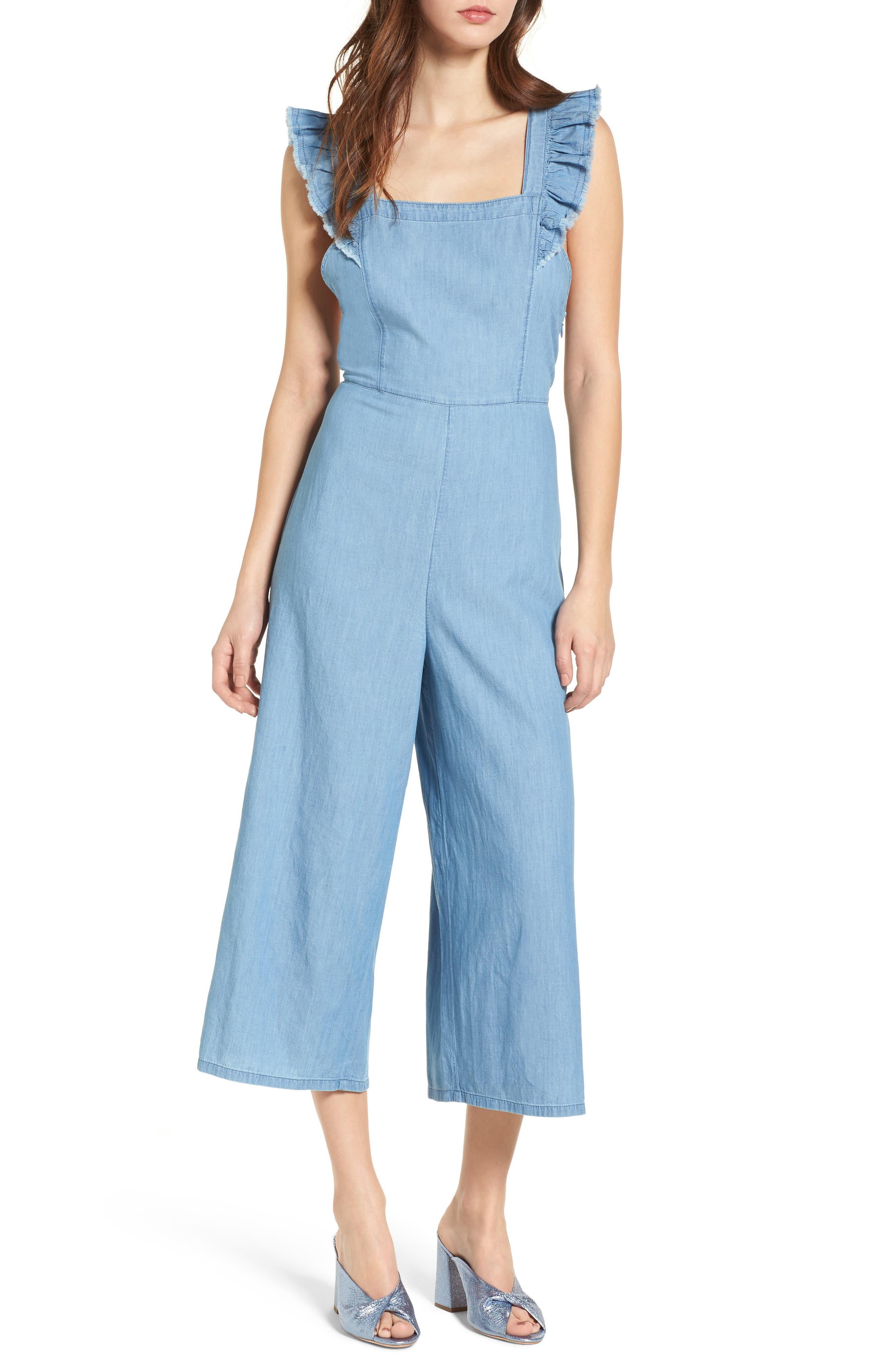 Chambray Apron Crop Jumpsuit,                         Main,                         color, 420