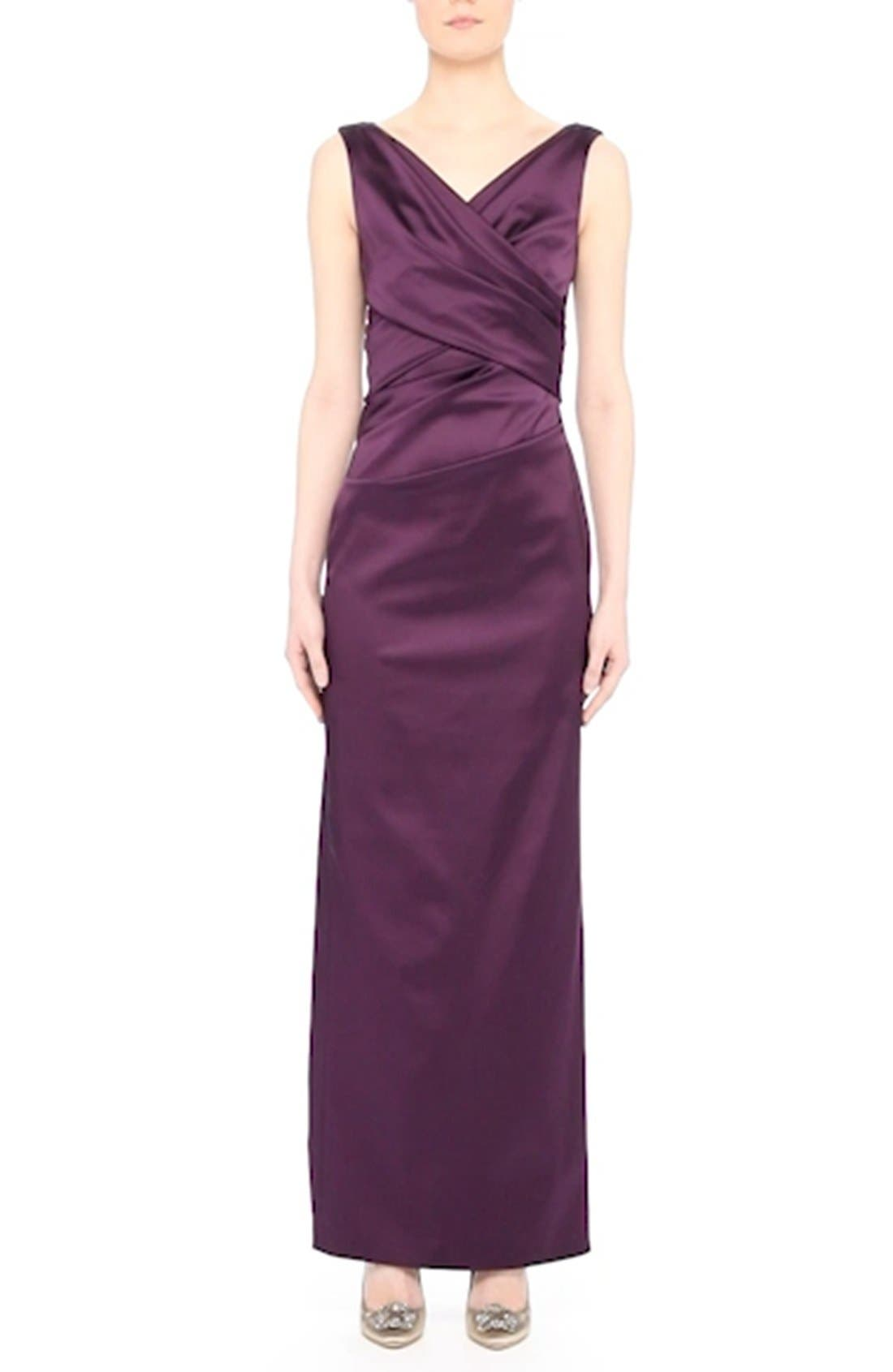V-Neck Ruched Stretch Satin Column Gown,                             Alternate thumbnail 12, color,