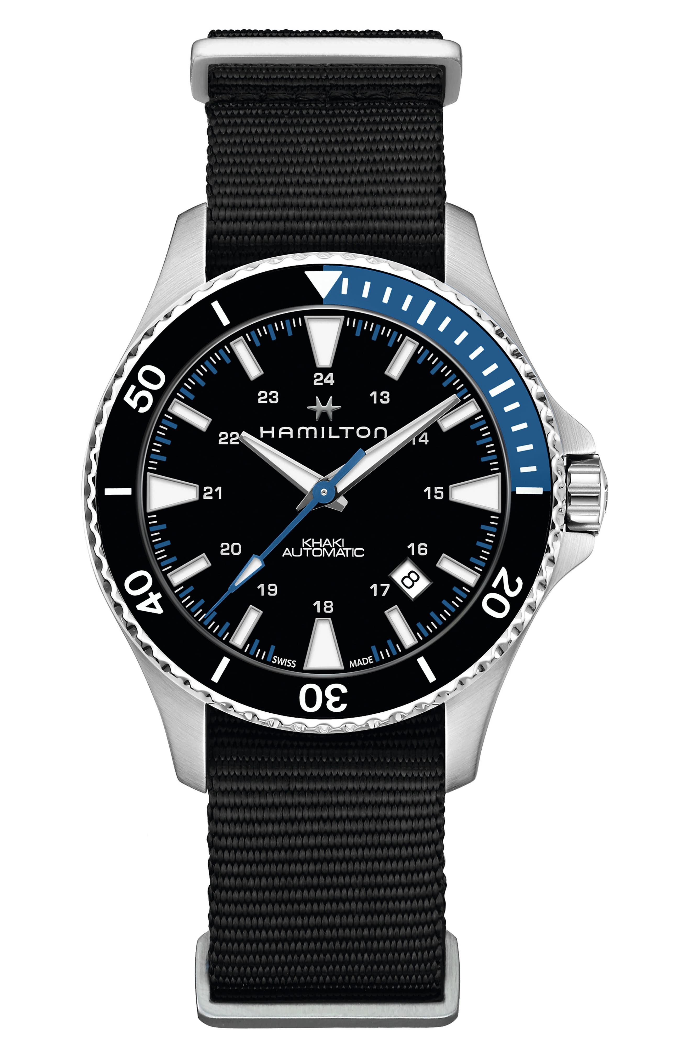 Khaki Navy Scuba Automatic Canvas Strap Watch, 40mm,                         Main,                         color, BLACK/ SILVER/ BLUE
