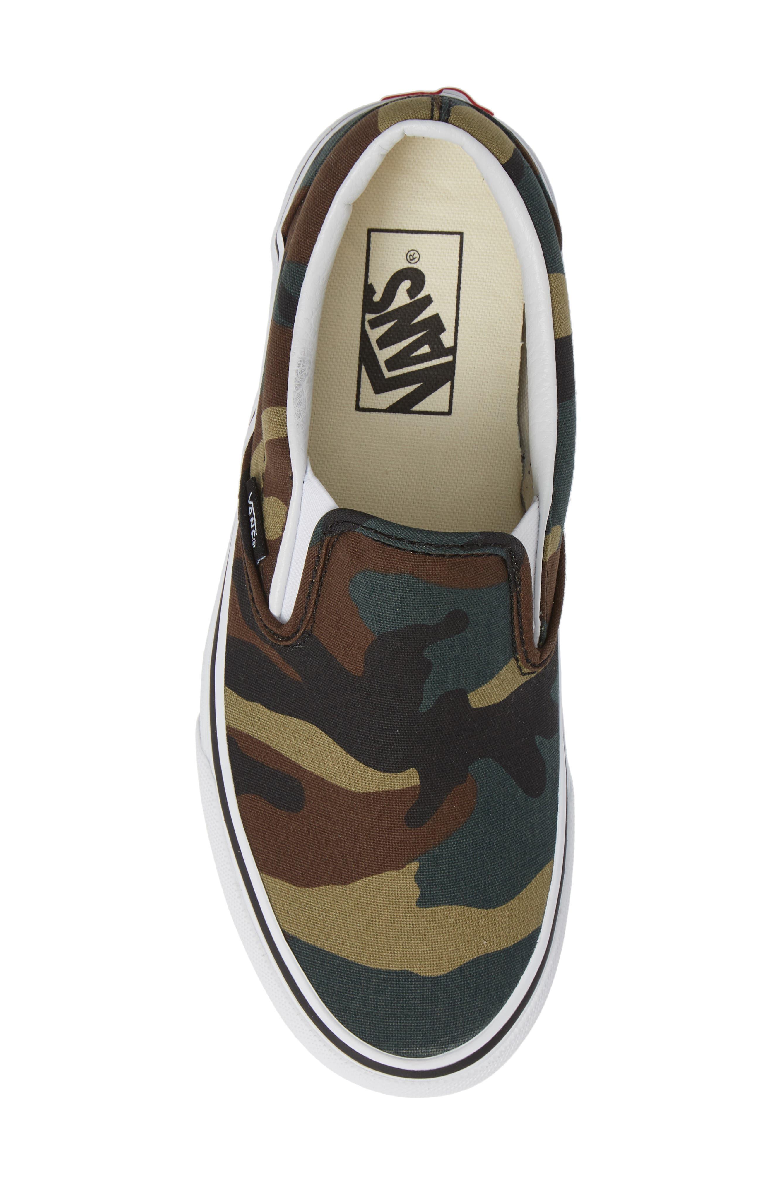 Classic Slip-On Sneaker,                             Alternate thumbnail 5, color,                             BLACK / WOODLAND
