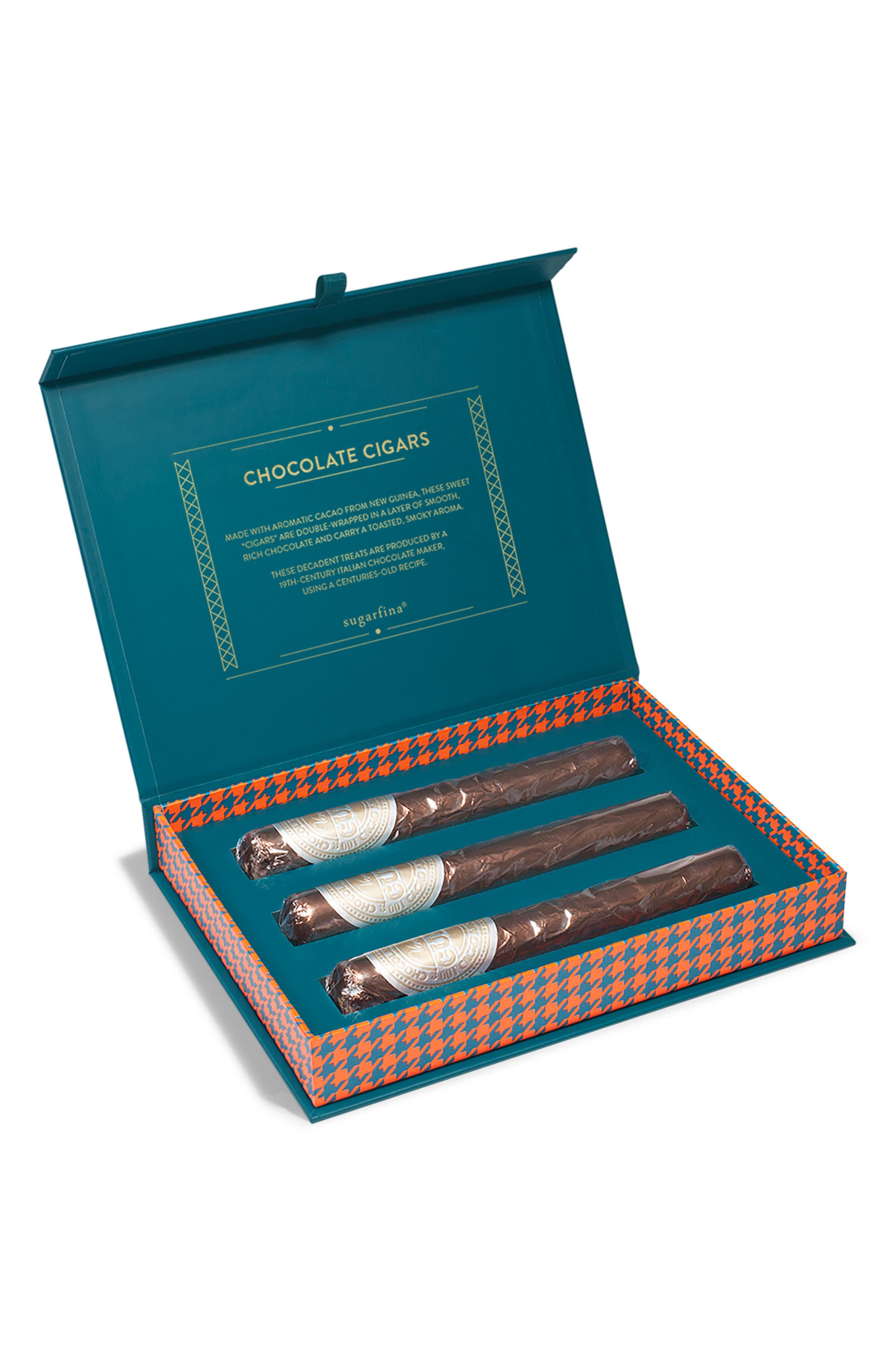 Sweet & Smokin' 3-Piece Chocolate Cigar Box,                             Main thumbnail 1, color,                             BLUE