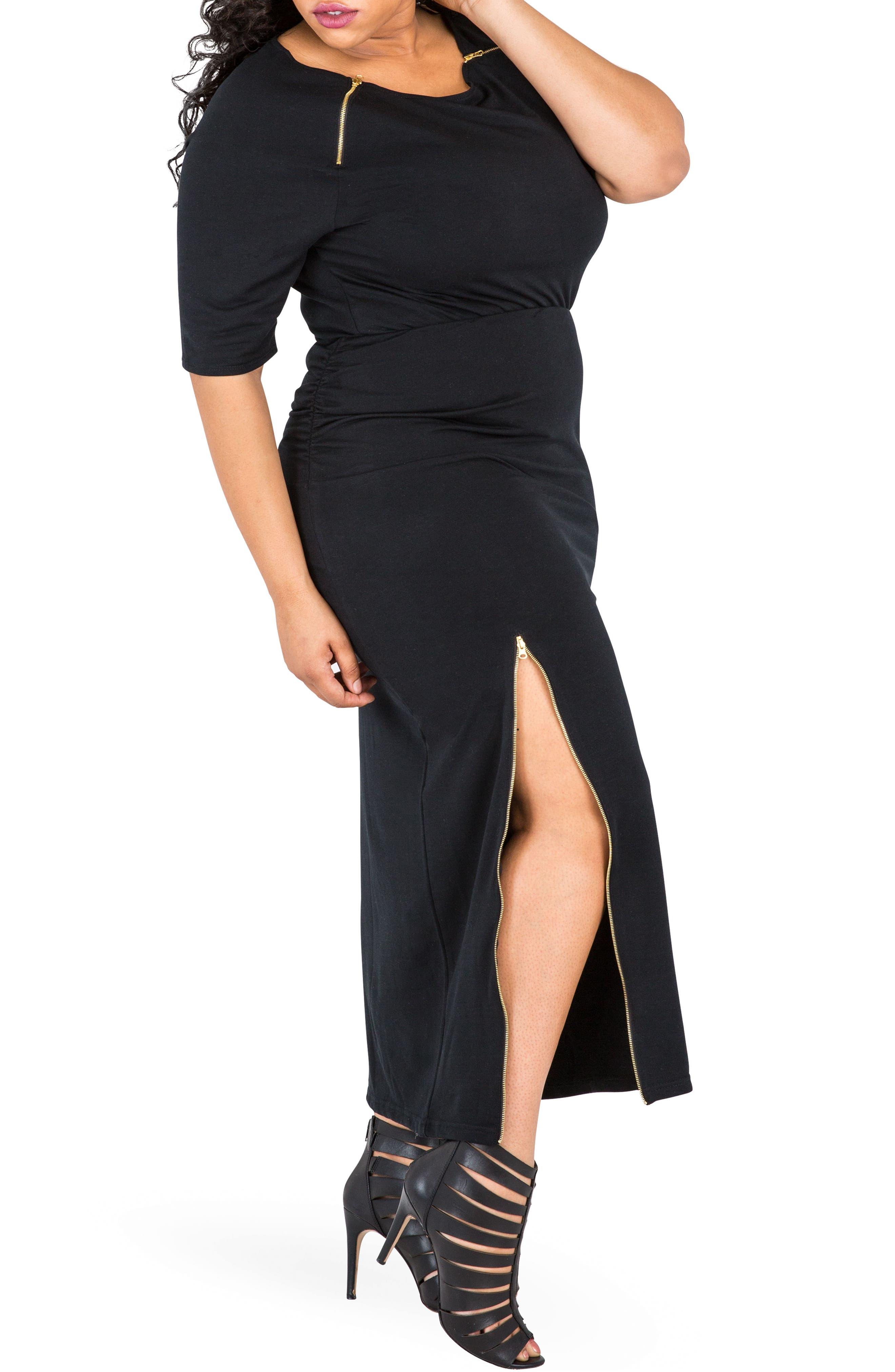 Kandi Zip Slit Maxi Skirt,                             Alternate thumbnail 5, color,                             BLACK