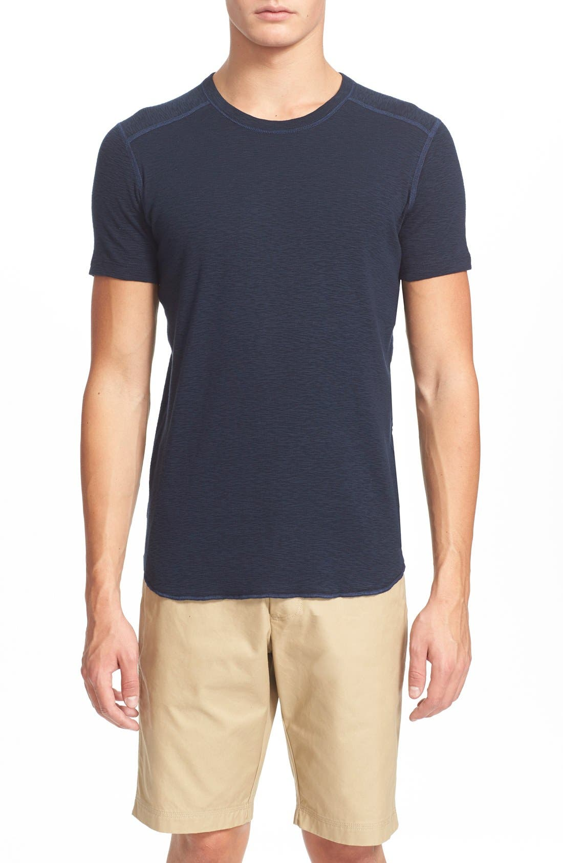 WINGS + HORNS Ribbed Slub Cotton T-Shirt in Navy