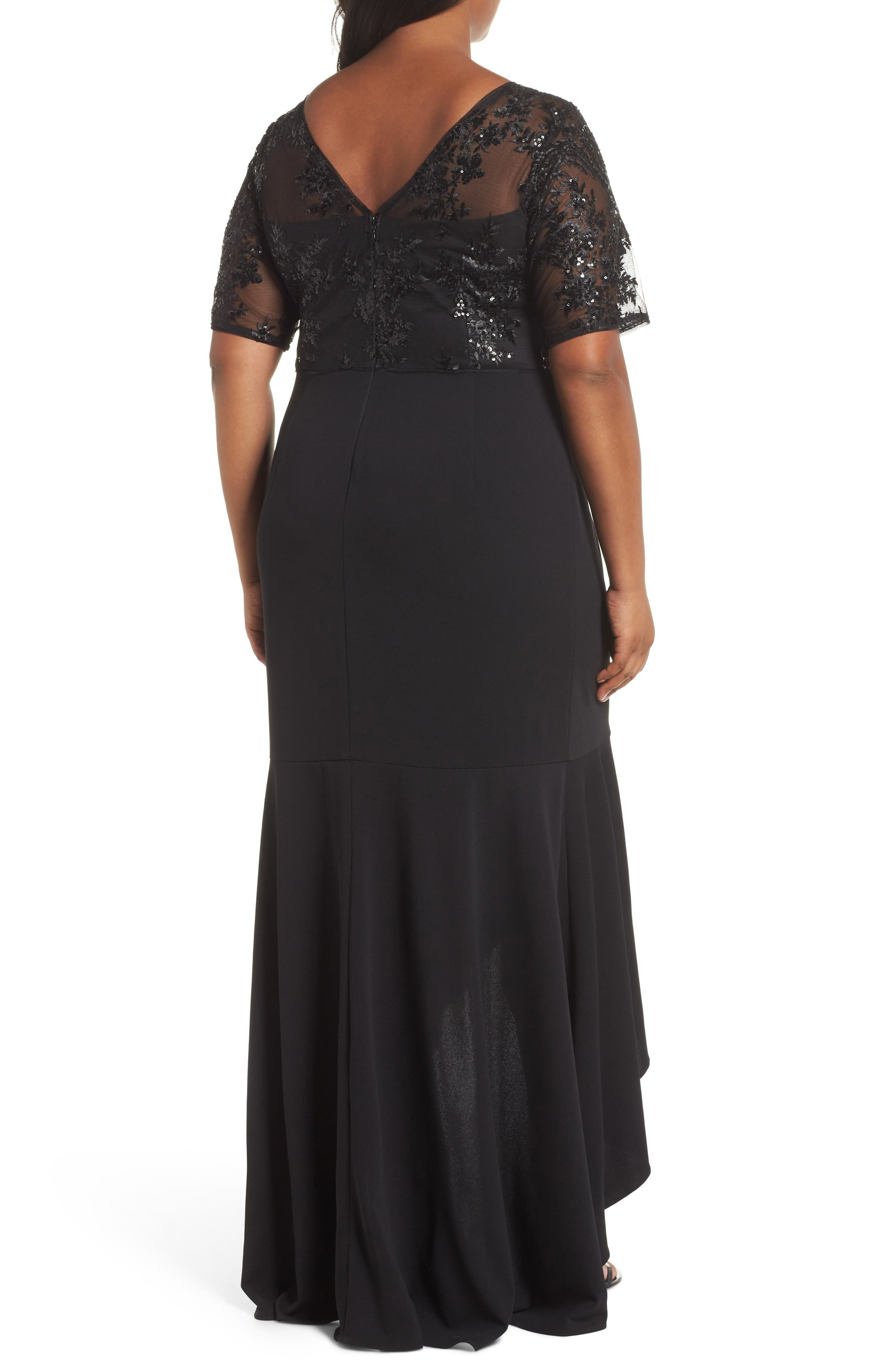 Sequin Bodice High/Low Gown,                             Alternate thumbnail 2, color,                             001
