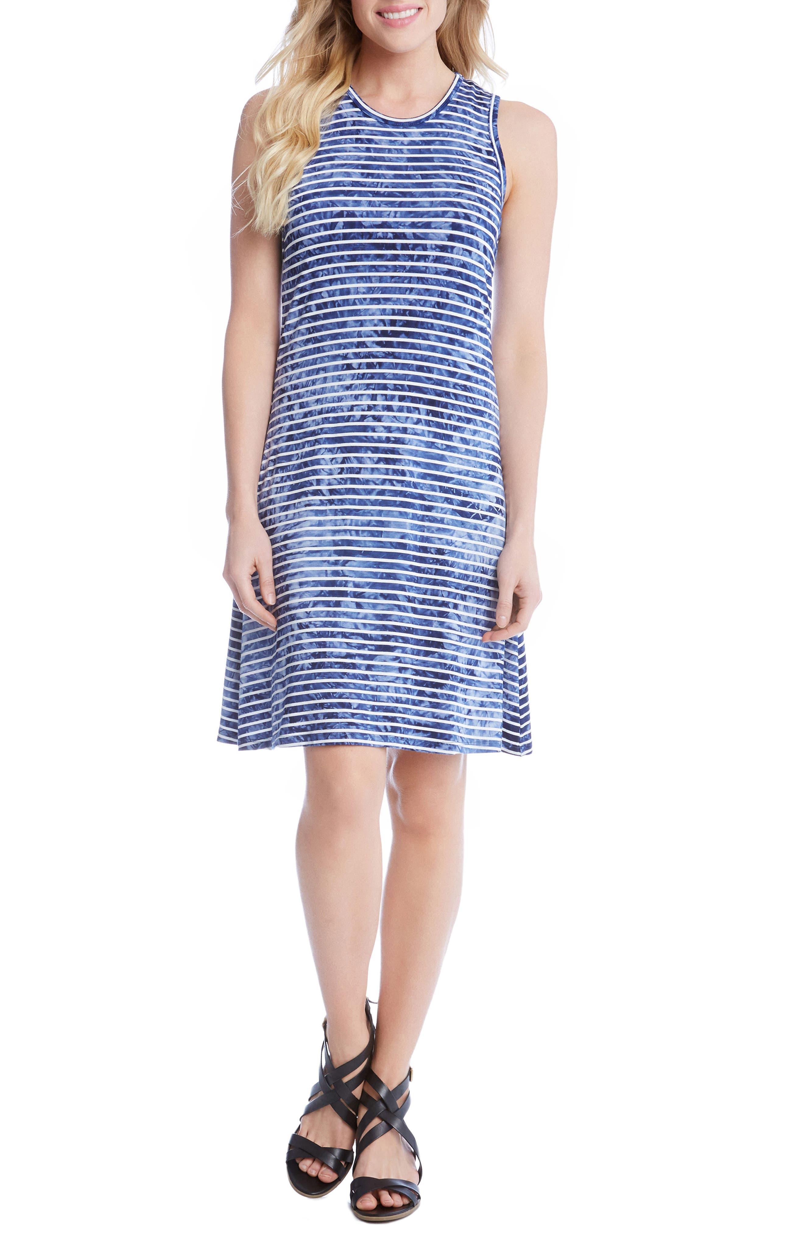 Tie-Dye Stripe A-Line Dress,                         Main,                         color, 489