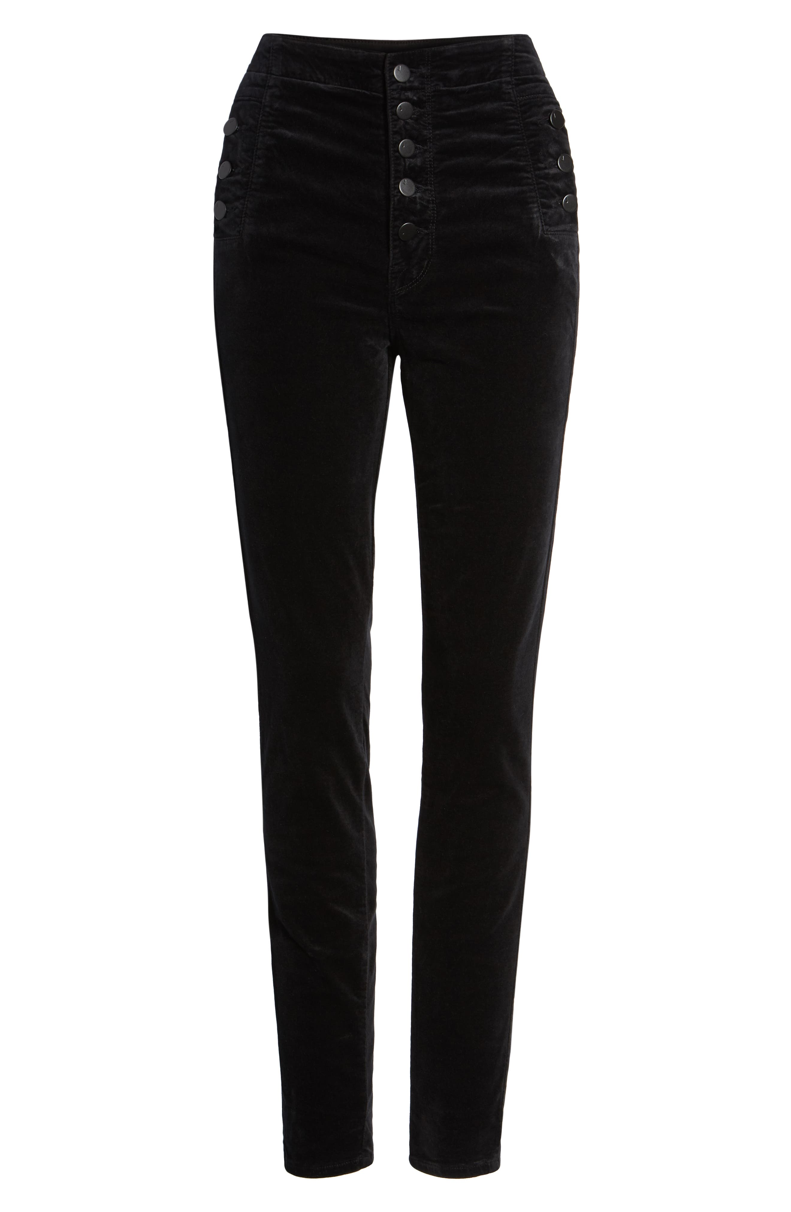 Natasha Sky High Velvet Skinny Pants,                             Alternate thumbnail 4, color,                             BLACK