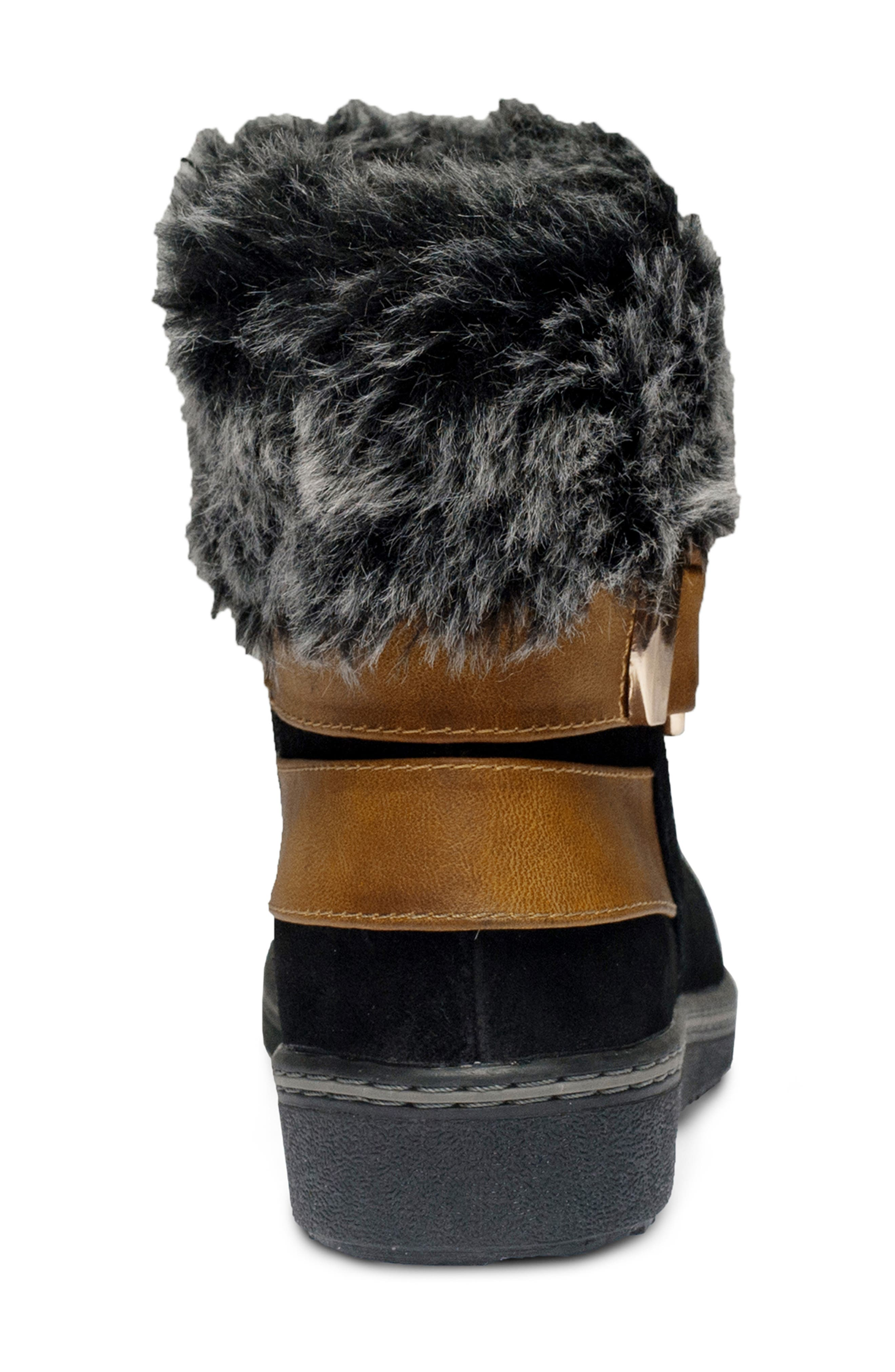 Popsicle Water Resistant Faux Fur Bootie,                             Alternate thumbnail 5, color,                             BLACK SUEDE