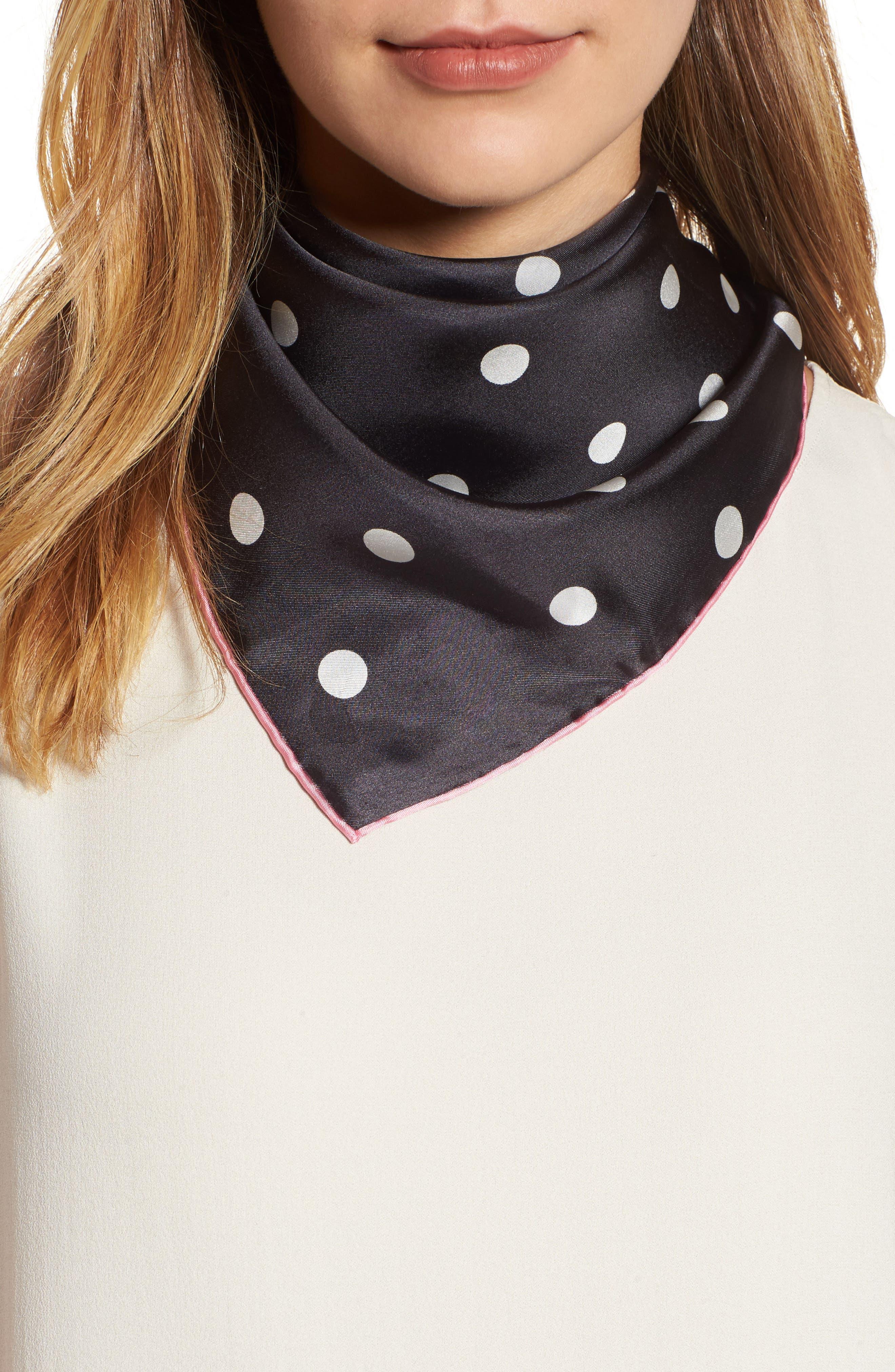 dancing dot silk bandana,                         Main,                         color, BLACK/ PARISIAN PINK