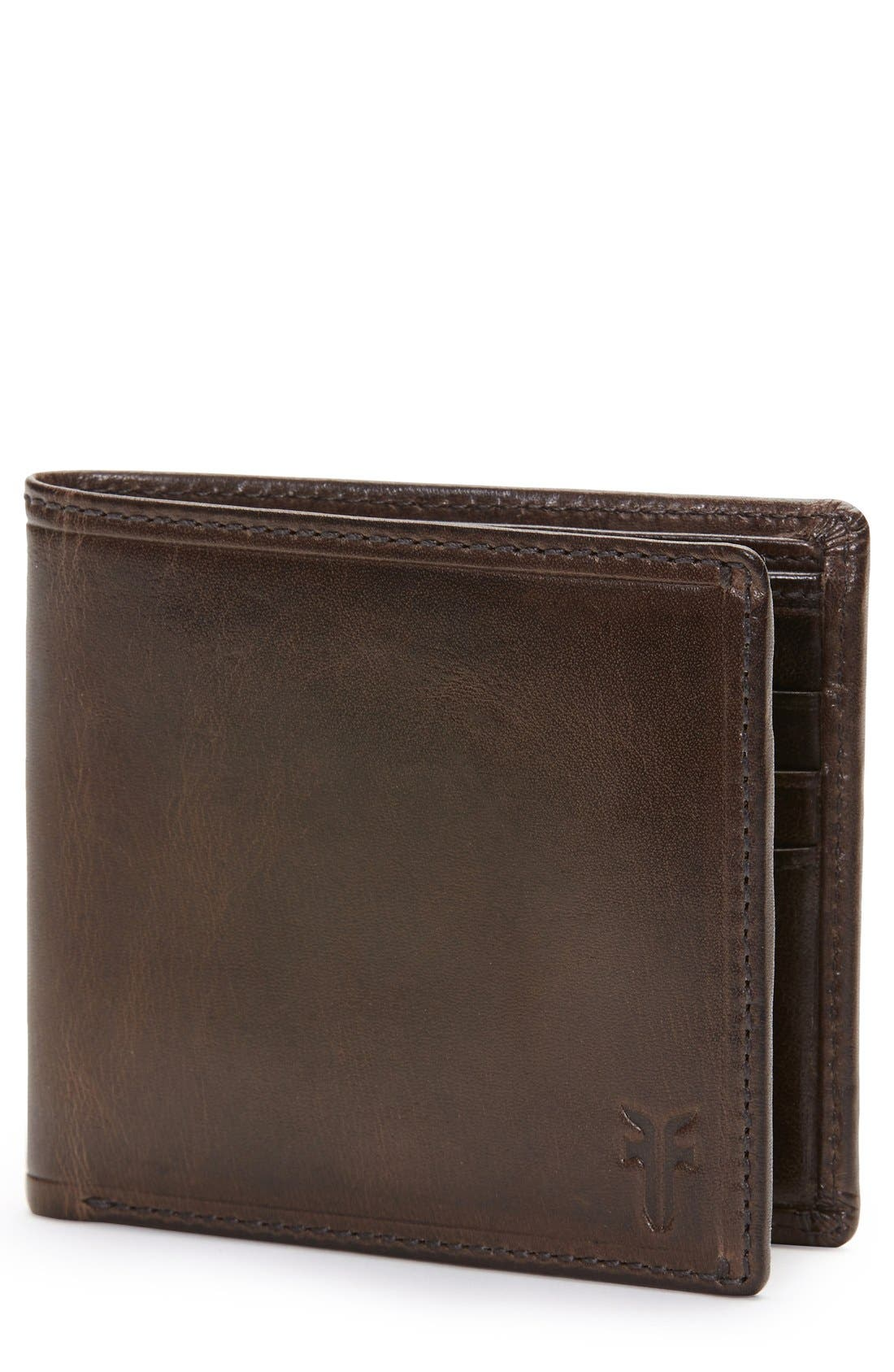 'Logan' Leather Billfold Wallet,                             Main thumbnail 1, color,                             DARK BROWN