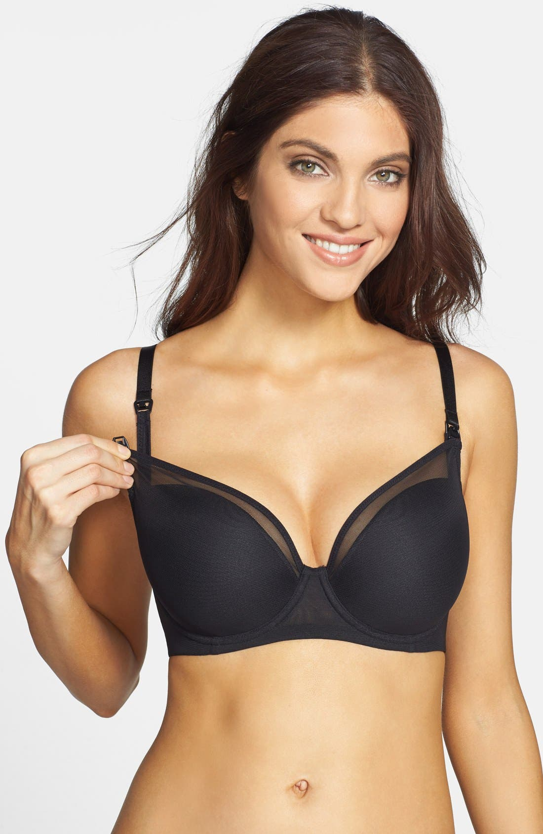 Le Mystére 'Mama Mia' Underwire Nursing Bra,                         Main,                         color, BLACK