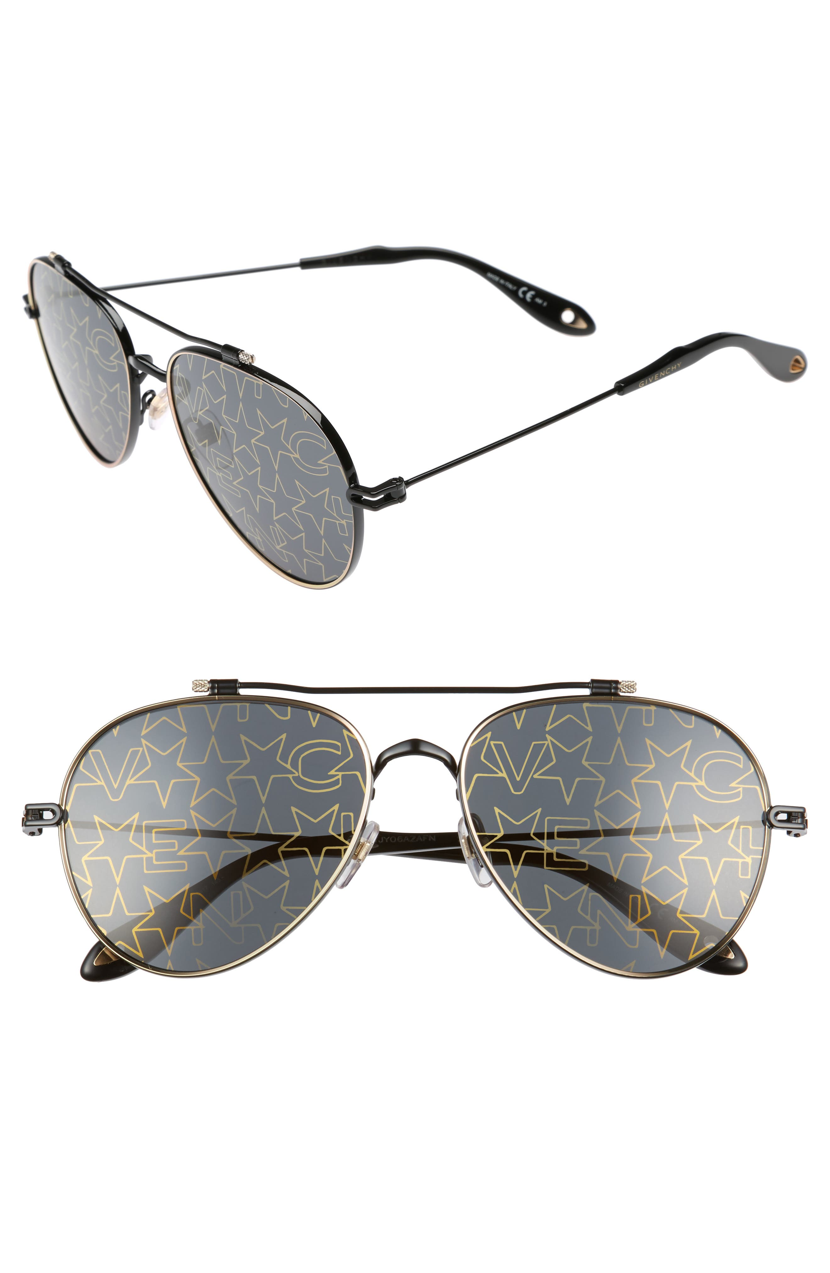 58mm Aviator Sunglasses,                         Main,                         color, 001