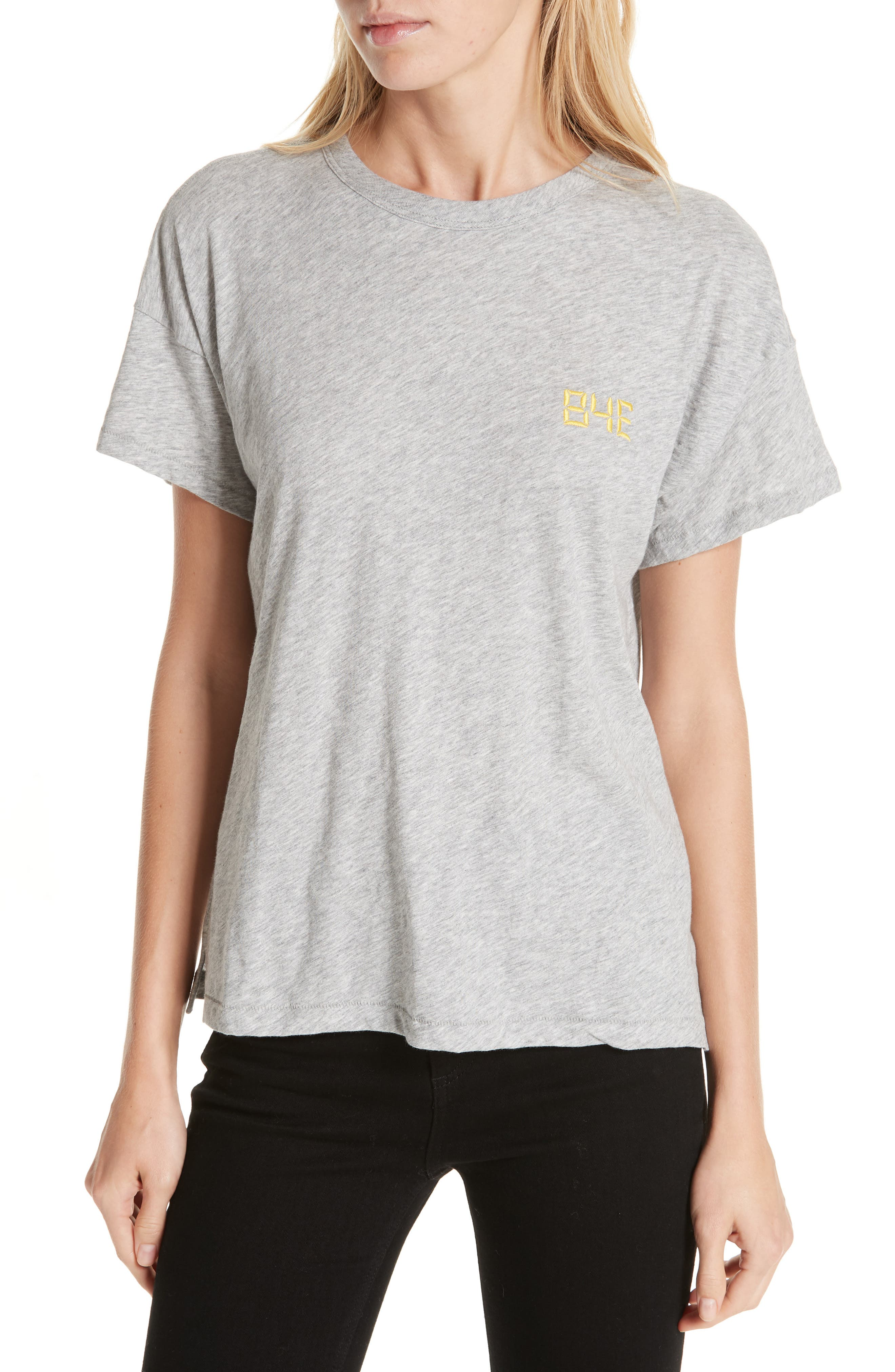 Bye Embroidered Tee,                             Main thumbnail 1, color,                             HEATHER GREY