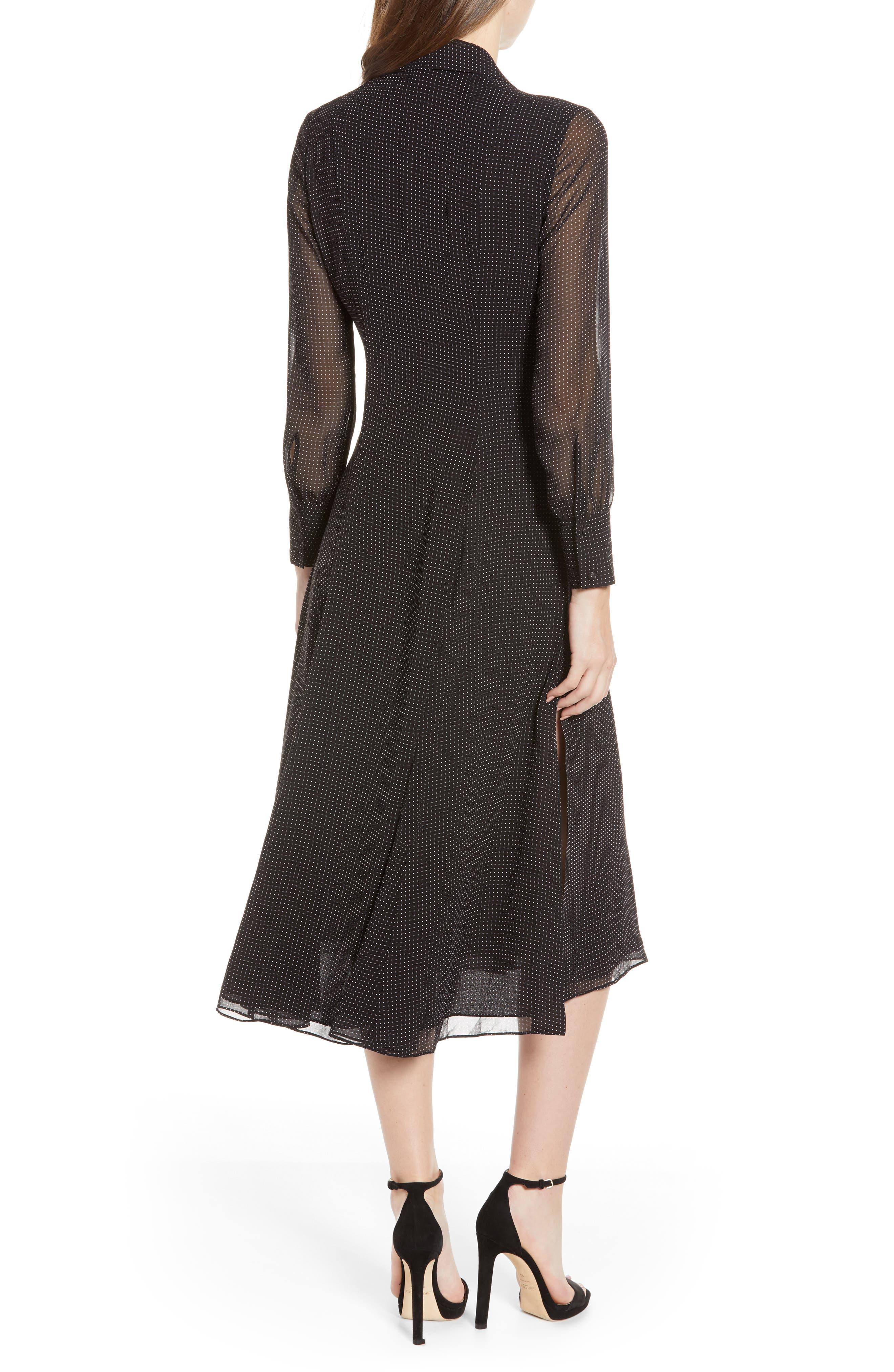 REBECCA MINKOFF,                             Kimberly Dot Sheer Sleeve Dress,                             Alternate thumbnail 2, color,                             BLACK/ WHITE