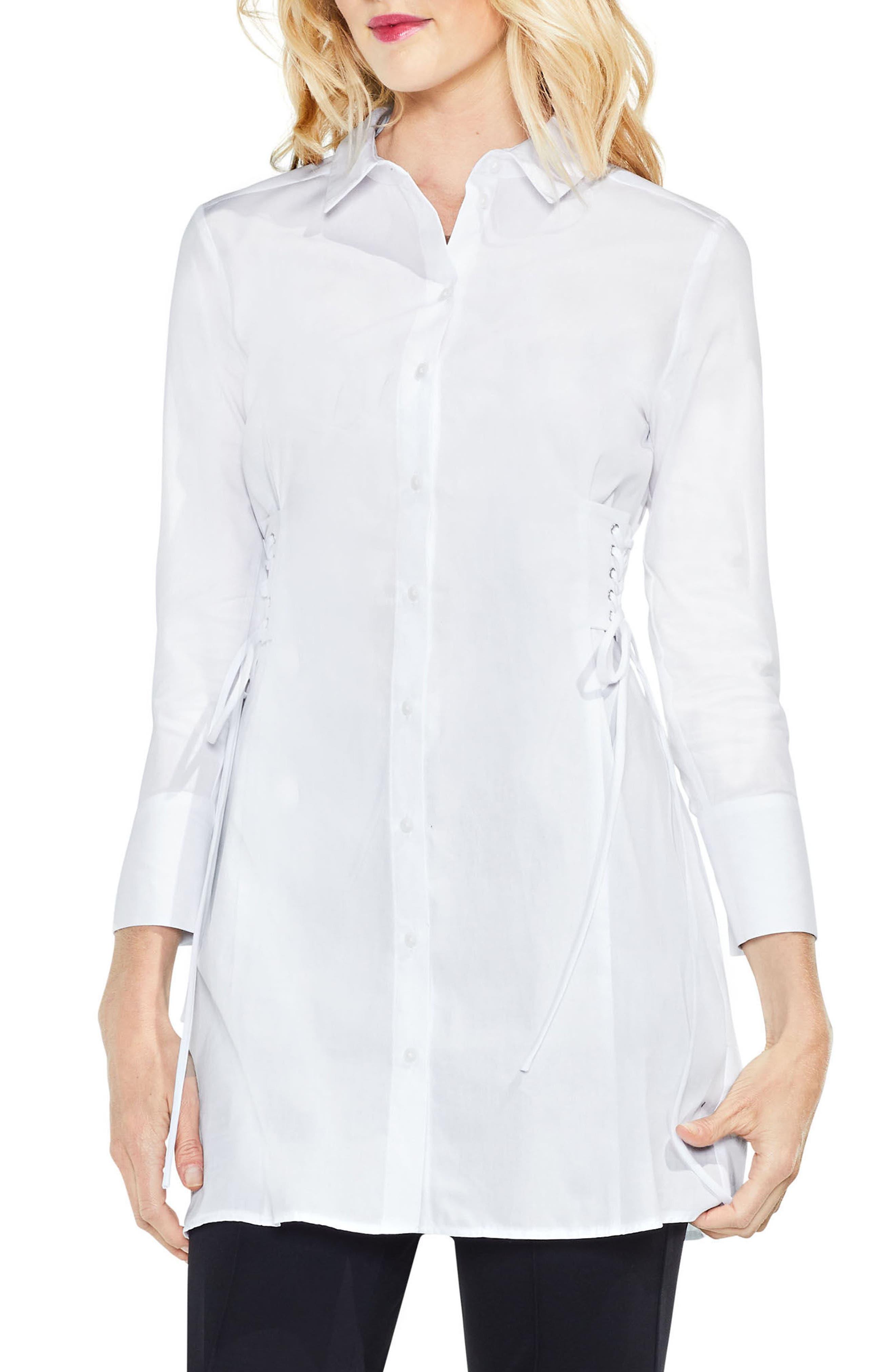 Side Lace-Up Tunic Shirt,                             Main thumbnail 1, color,                             145