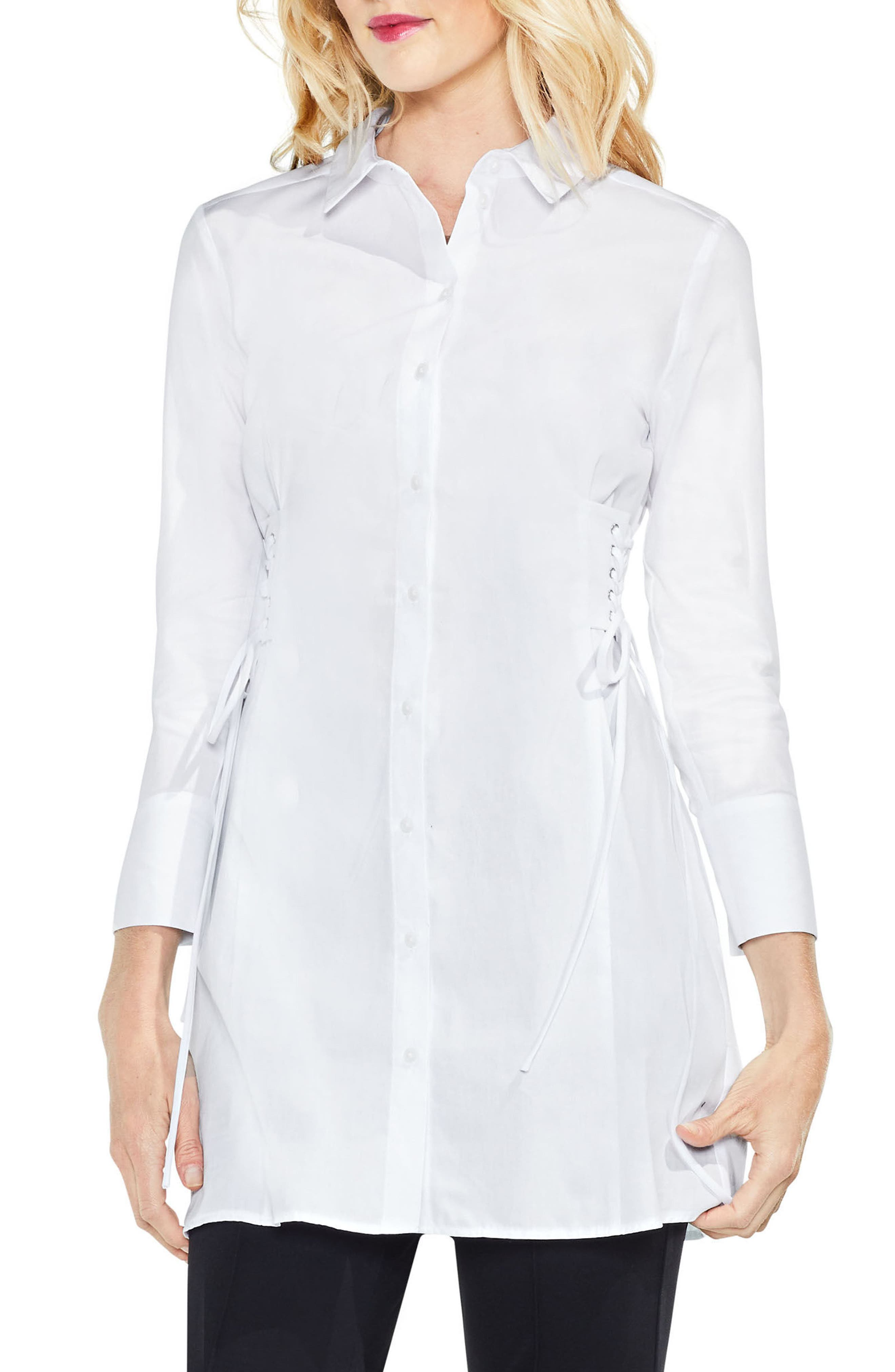 Side Lace-Up Tunic Shirt,                         Main,                         color, 145