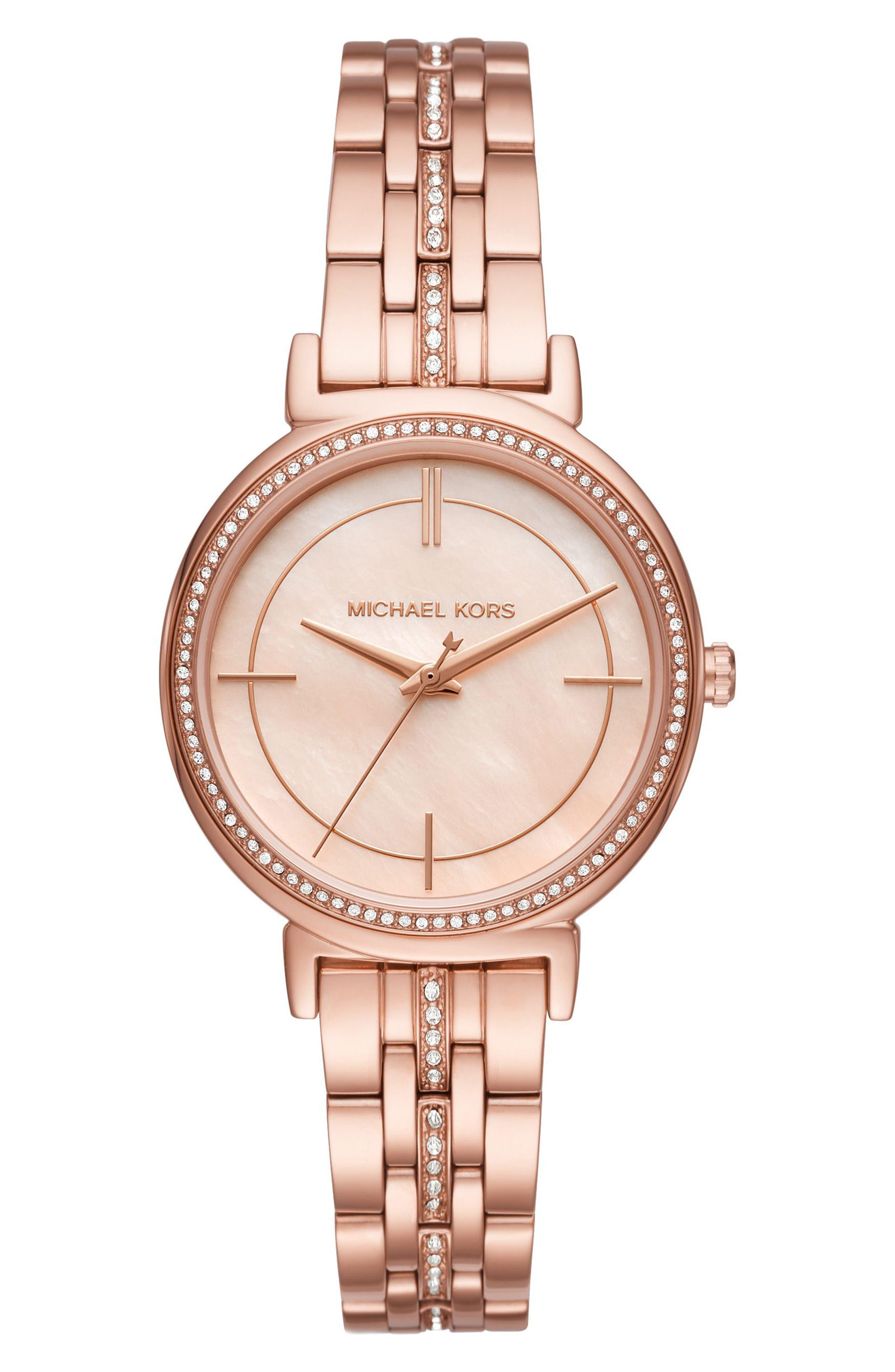Cinthia Bracelet Watch, 33mm,                             Main thumbnail 1, color,                             ROSE GOLD/ SILVER