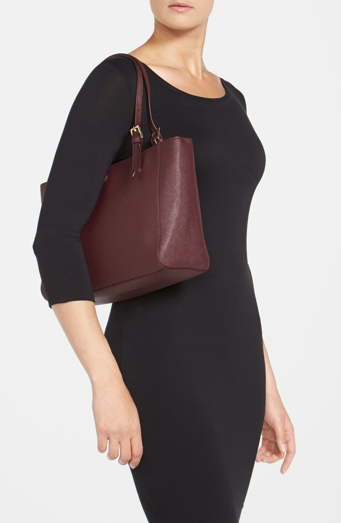 'Small York' Saffiano Leather Buckle Tote,                             Alternate thumbnail 38, color,