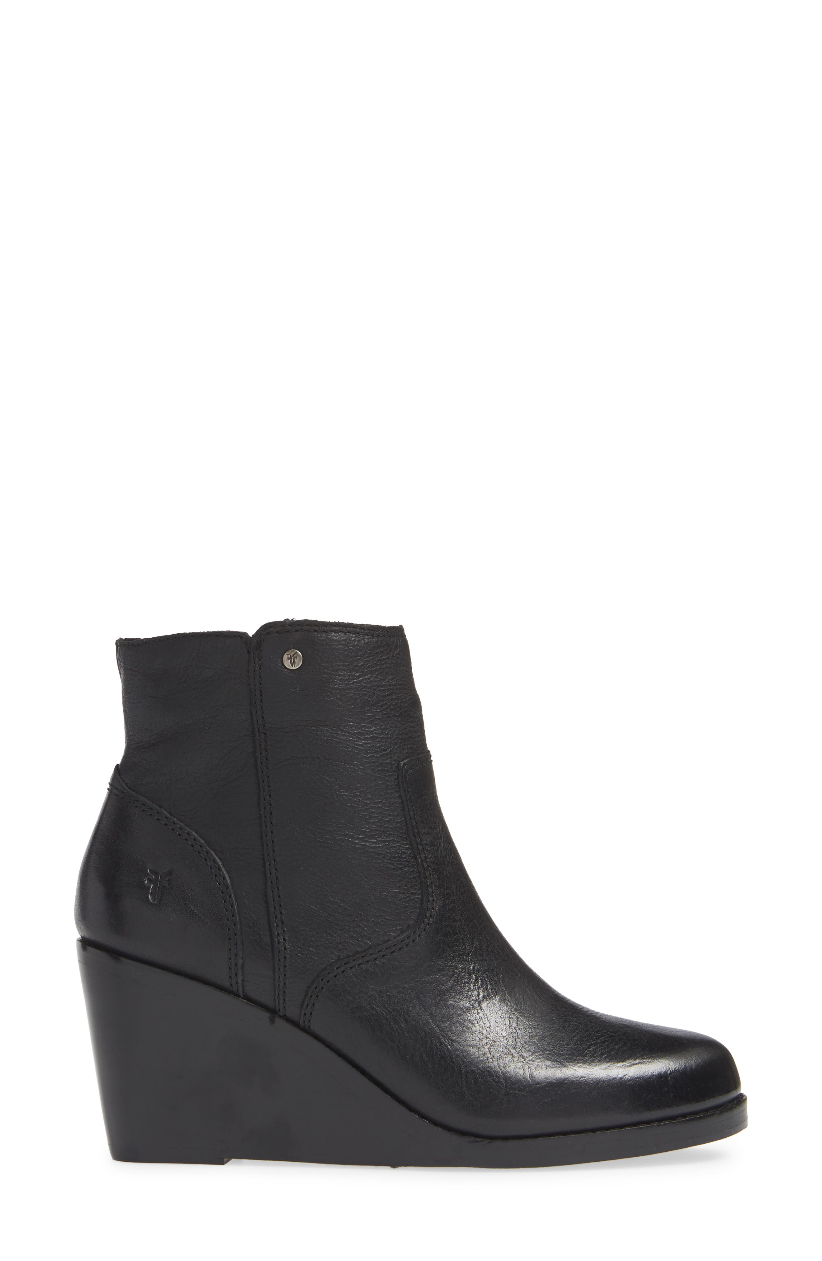 Emma Wedge Bootie,                             Alternate thumbnail 3, color,                             BLACK LEATHER