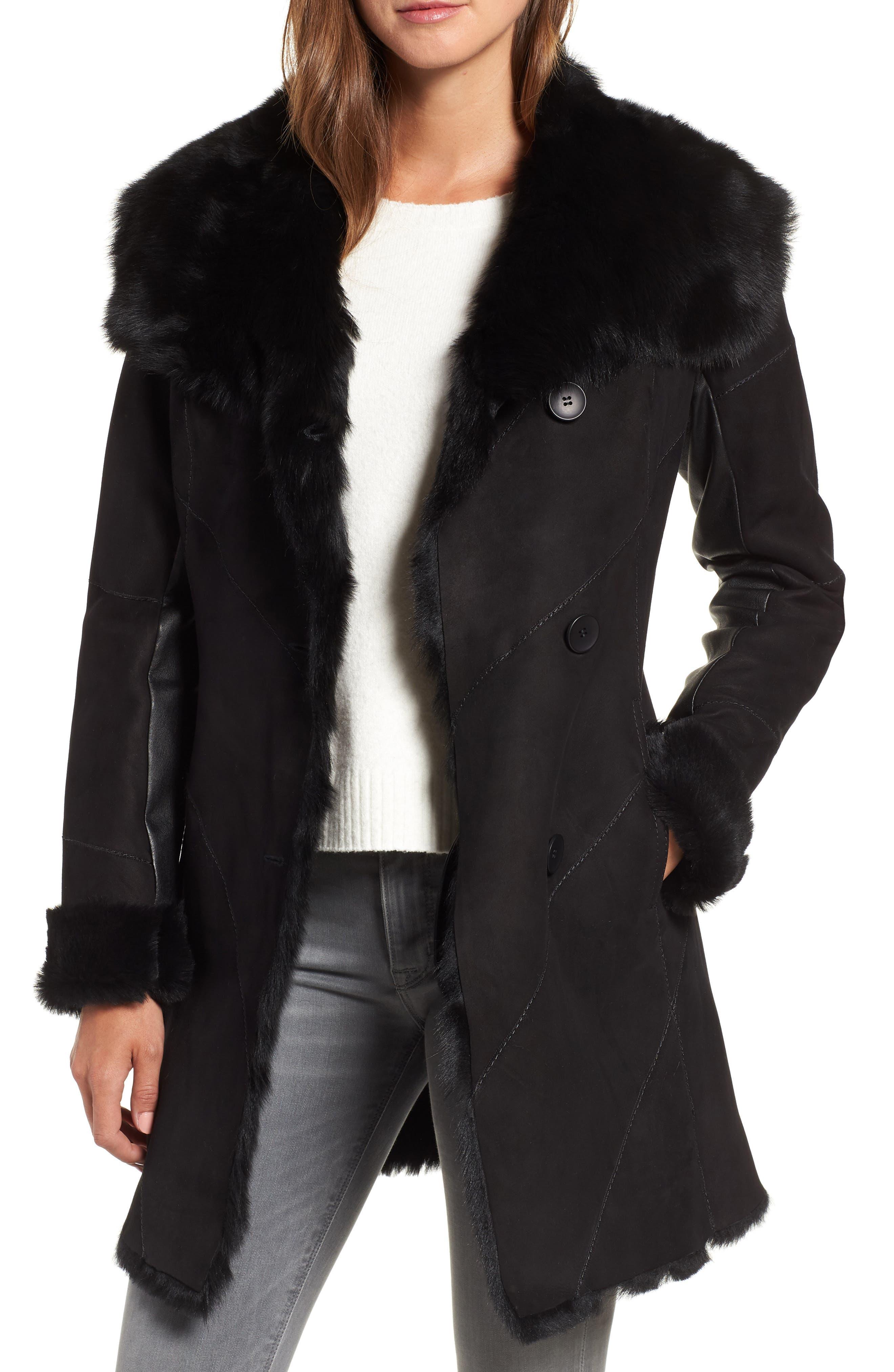 Hiso Genuine Toscana Shearling Coat, Black