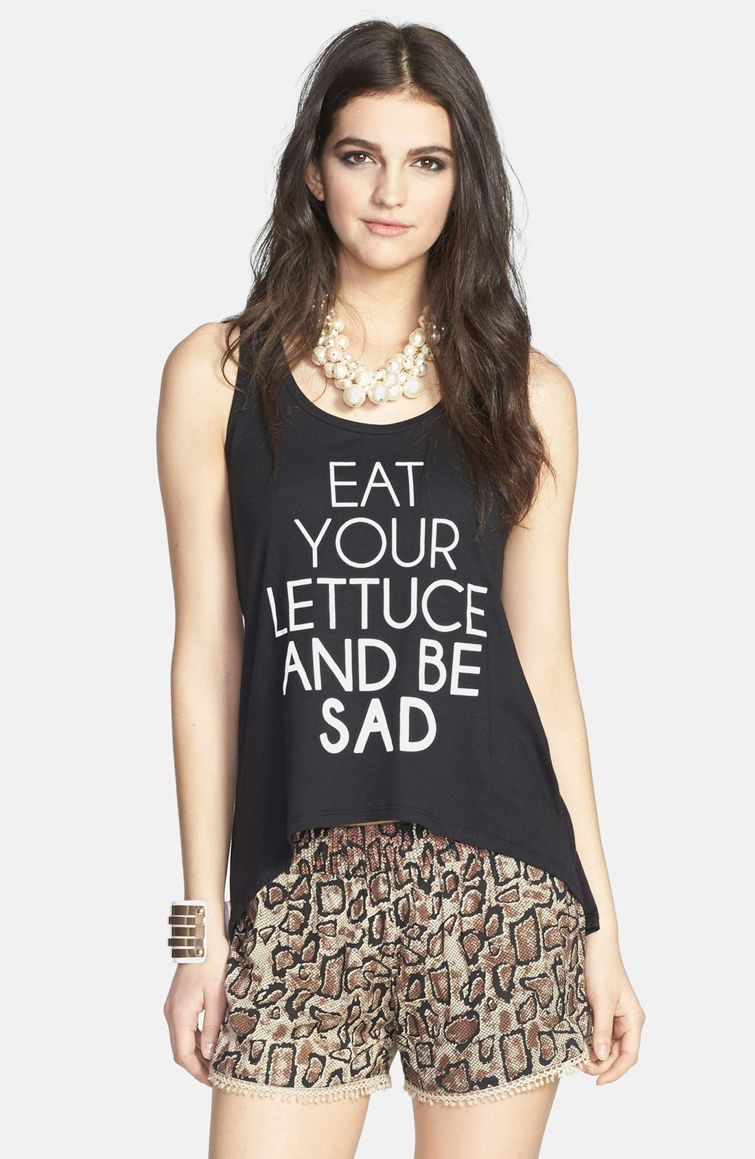 MADISON & BERKELEY,                             'Eat Your Lettuce and Be Sad' High/Low Tank,                             Main thumbnail 1, color,                             001