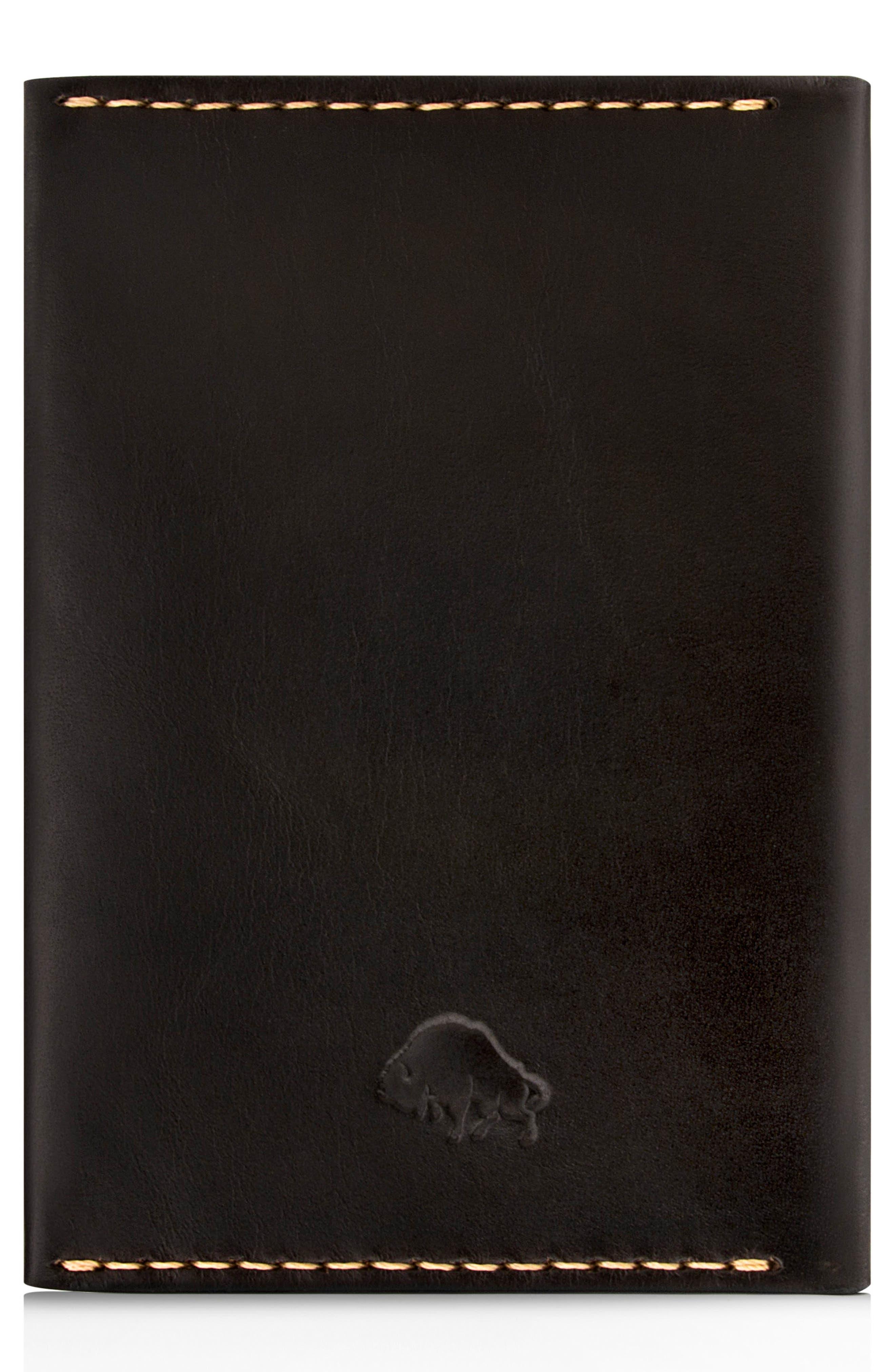 Leather Passport Wallet,                             Alternate thumbnail 3, color,                             JET TOP STITCH