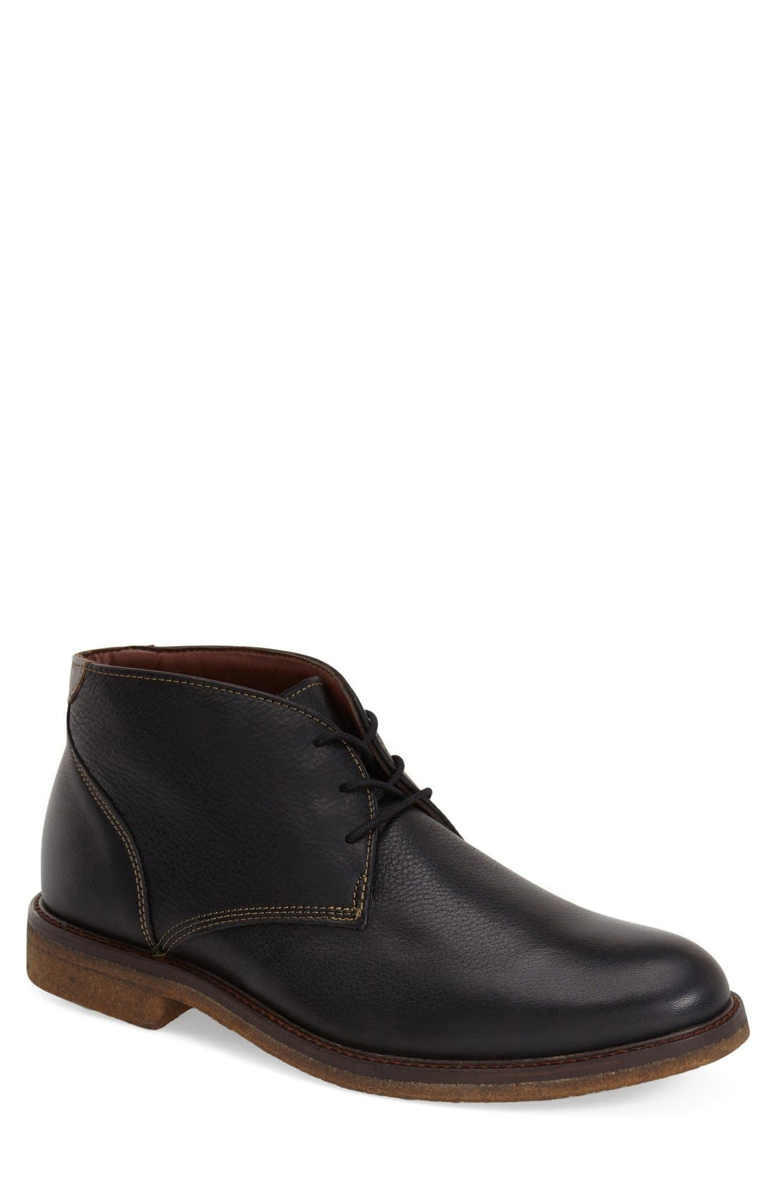 'Copeland' Suede Chukka Boot,                             Main thumbnail 1, color,                             BLACK LEATHER