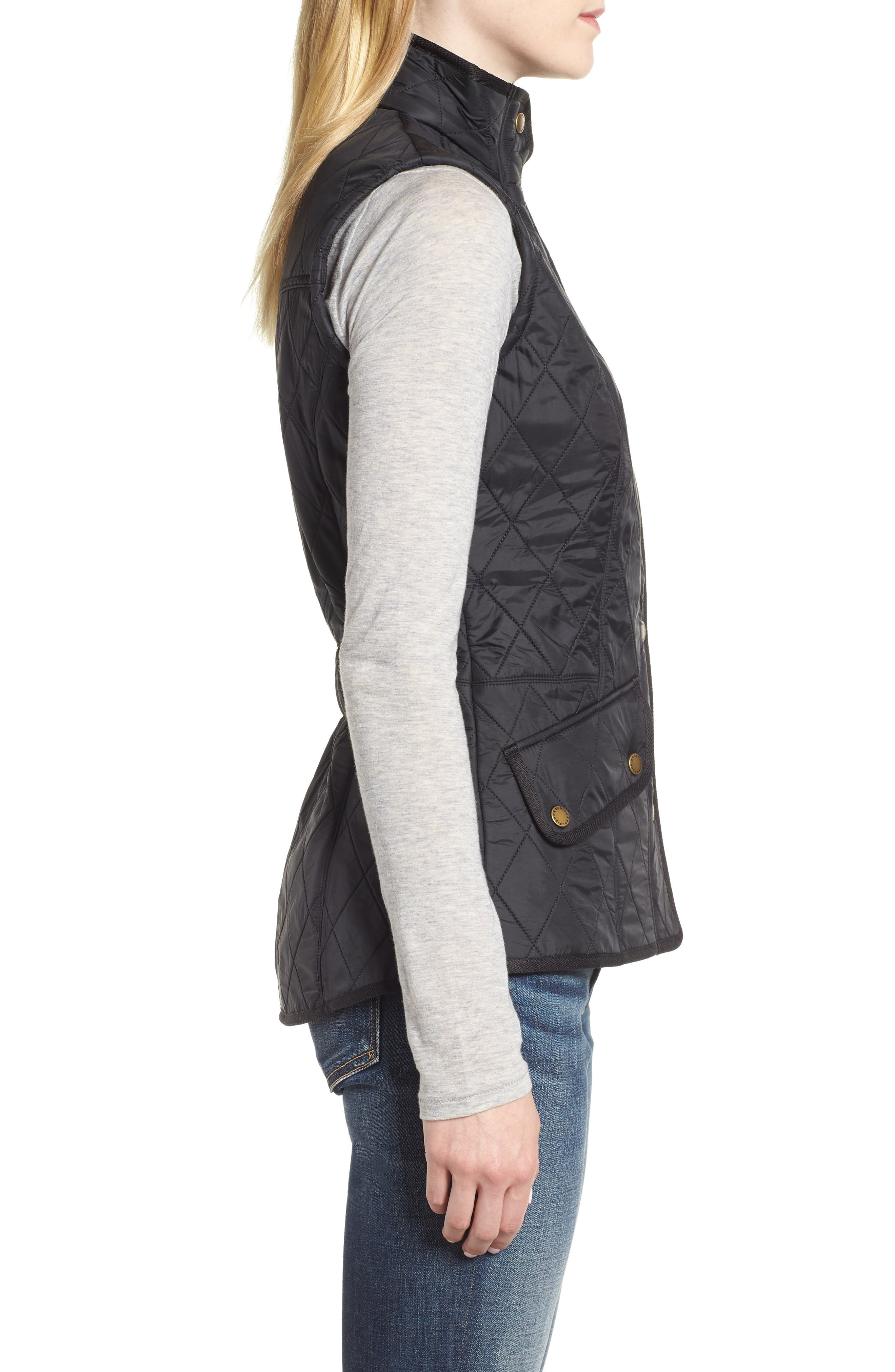 'Cavalry' Quilted Vest,                             Alternate thumbnail 3, color,                             BLACK/ BLACK