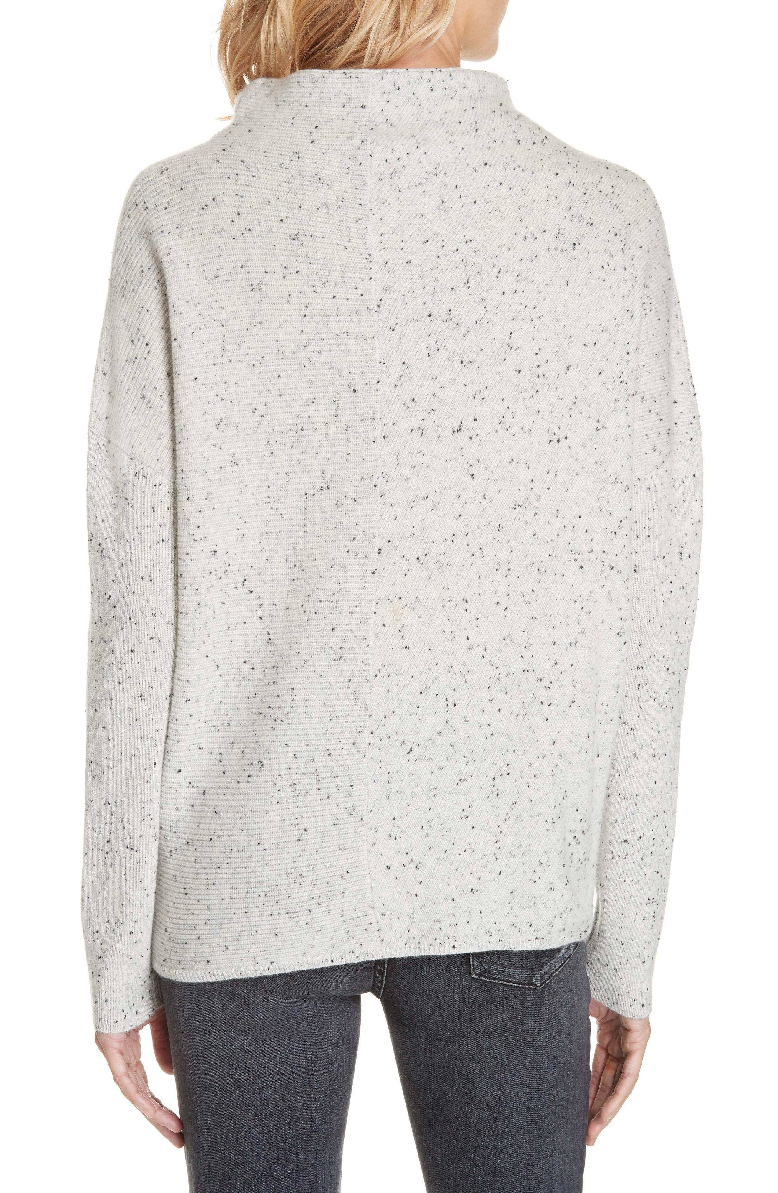 Cashmere Directional Rib Mock Neck Sweater,                             Alternate thumbnail 2, color,                             050