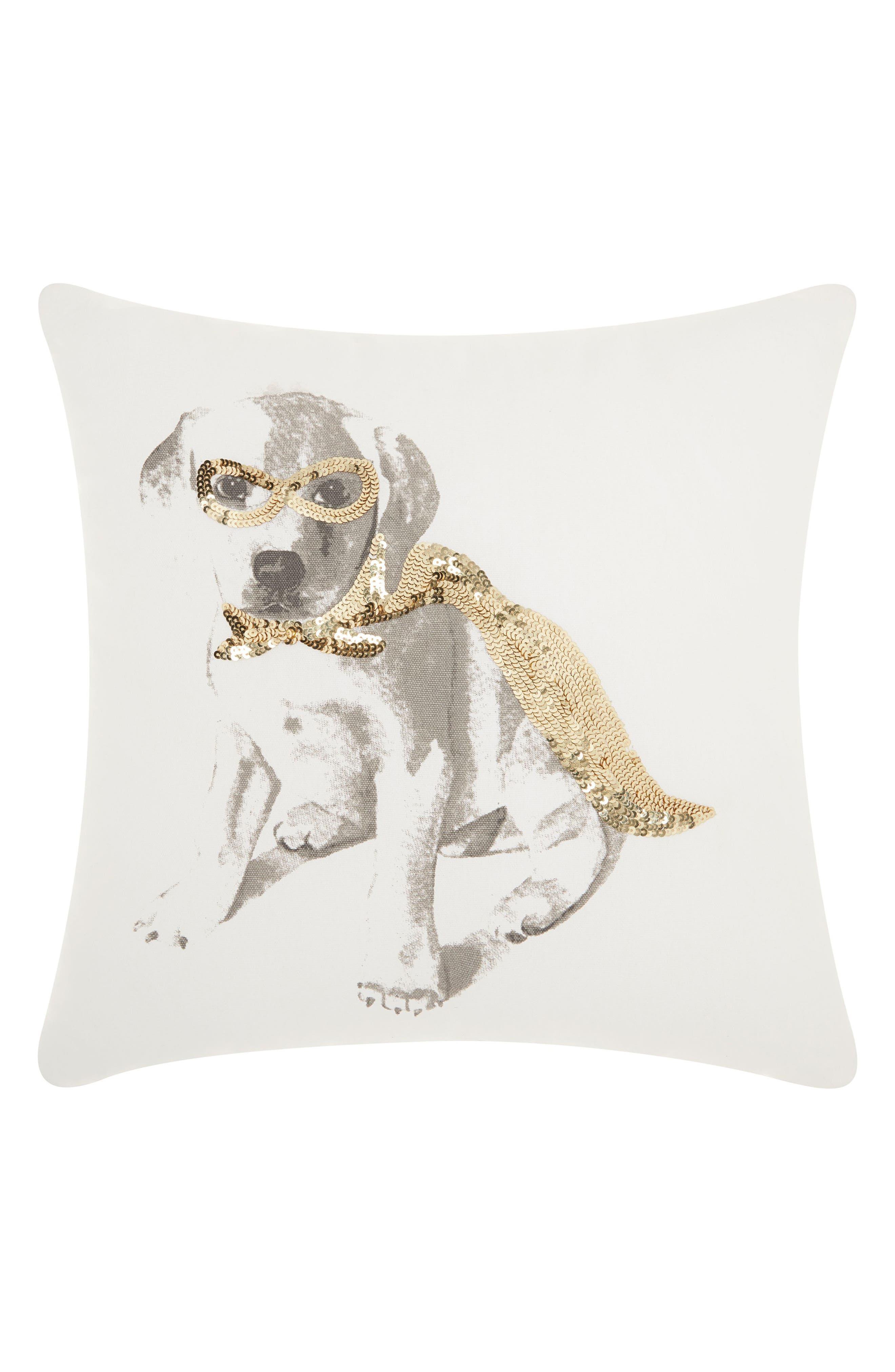 Sequin Super Dog Accent Pillow,                             Main thumbnail 1, color,                             100