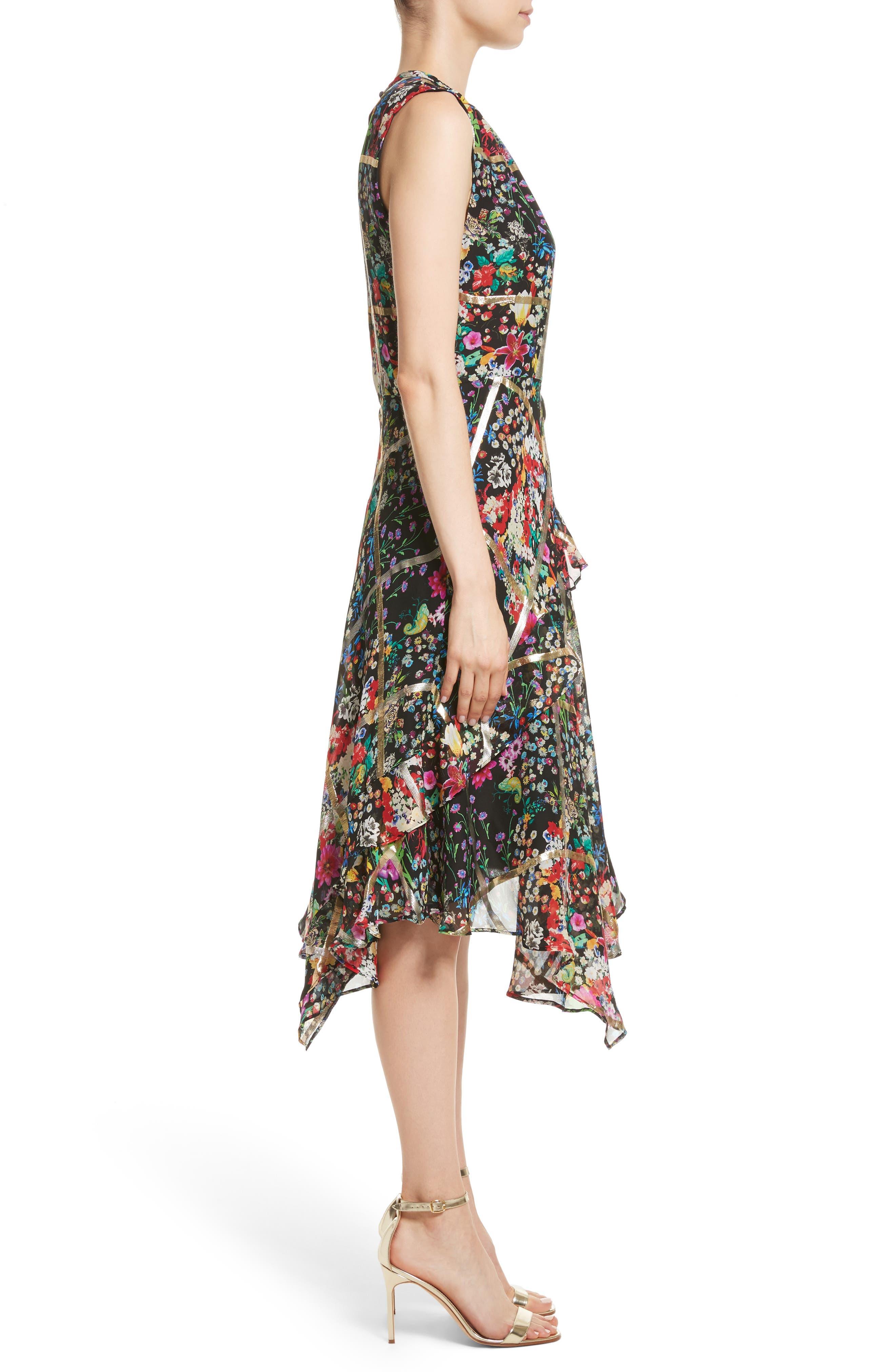 Metallic Grid Floral Print Silk Dress,                             Alternate thumbnail 3, color,                             001