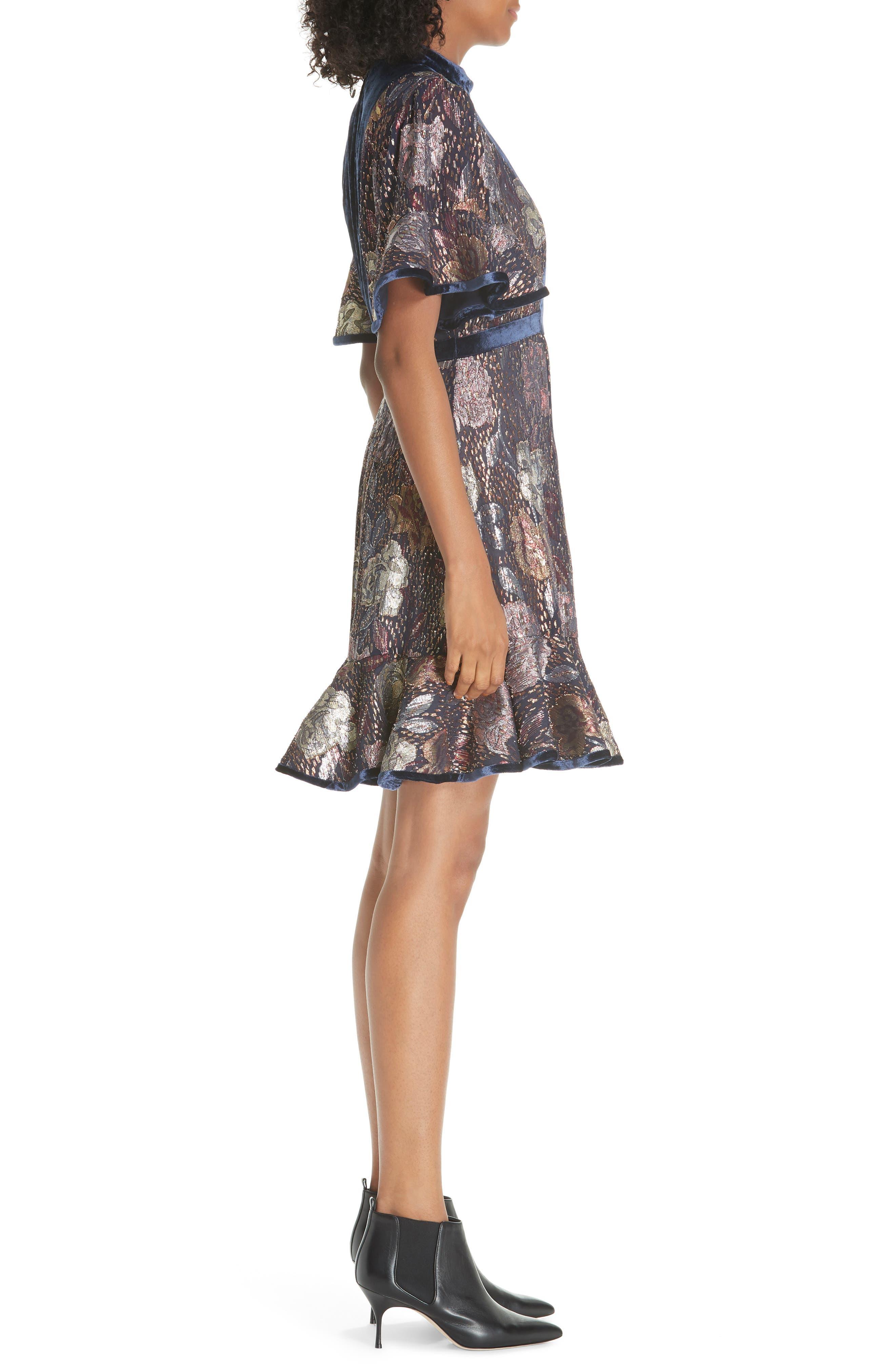 REBECCA TAYLOR,                             Velvet and Metallic Tapestry Dress,                             Alternate thumbnail 3, color,                             500