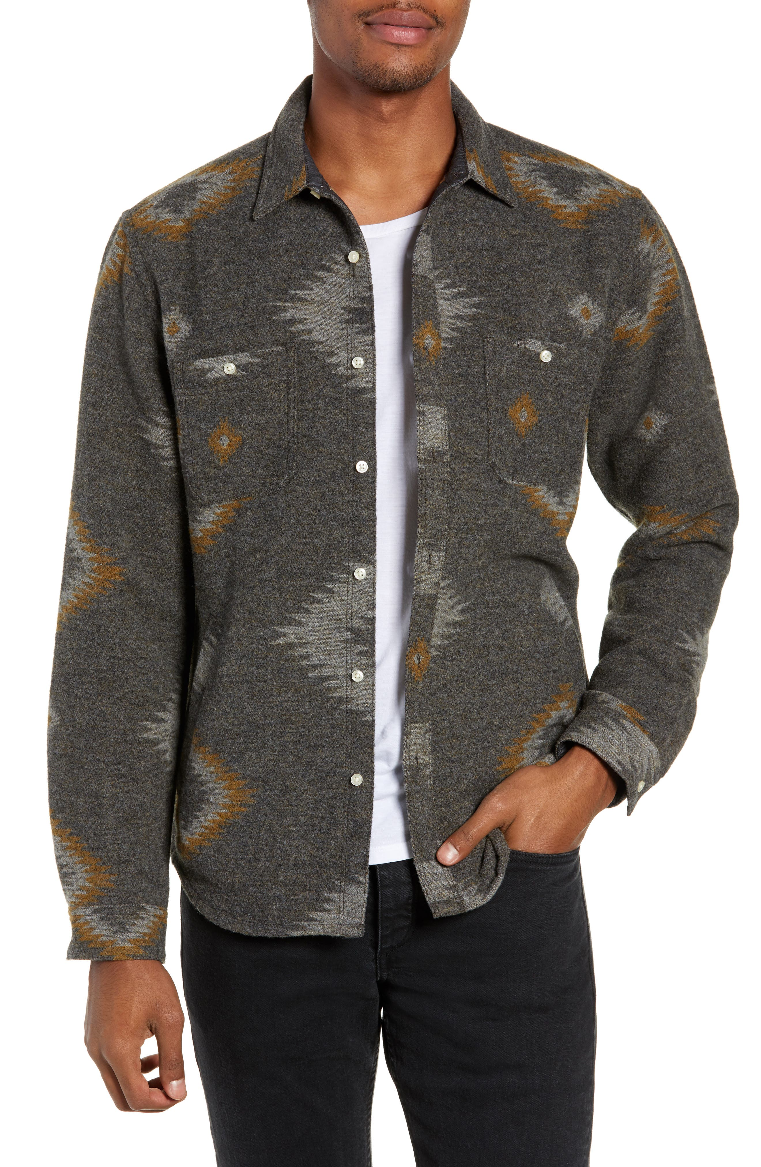 Warrior Regular Fit Wool Blend Shirt Jacket,                         Main,                         color, HEATHER CHARCOAL