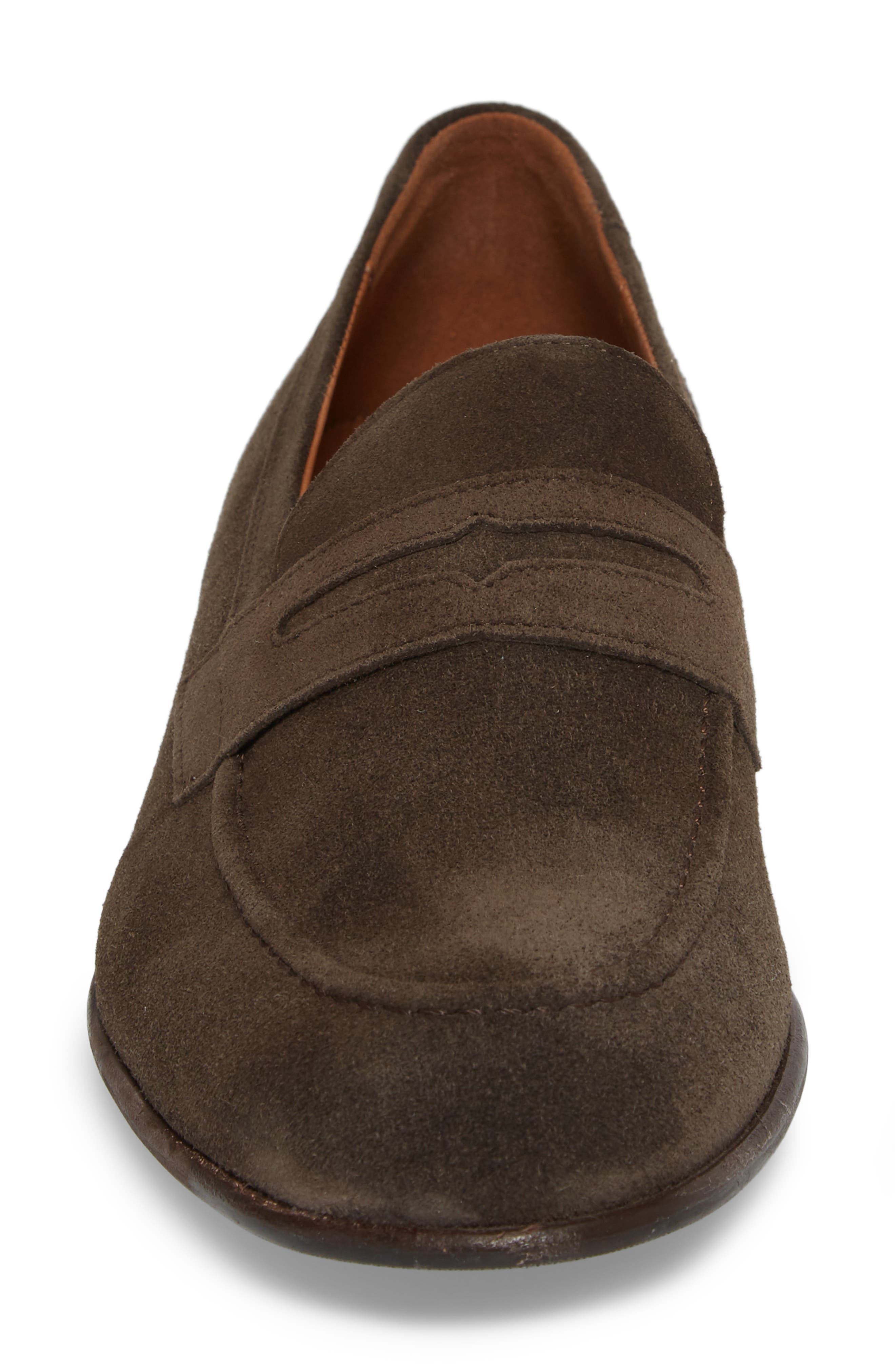 Paxton Penny Loafer,                             Alternate thumbnail 4, color,                             BROWN SUEDE