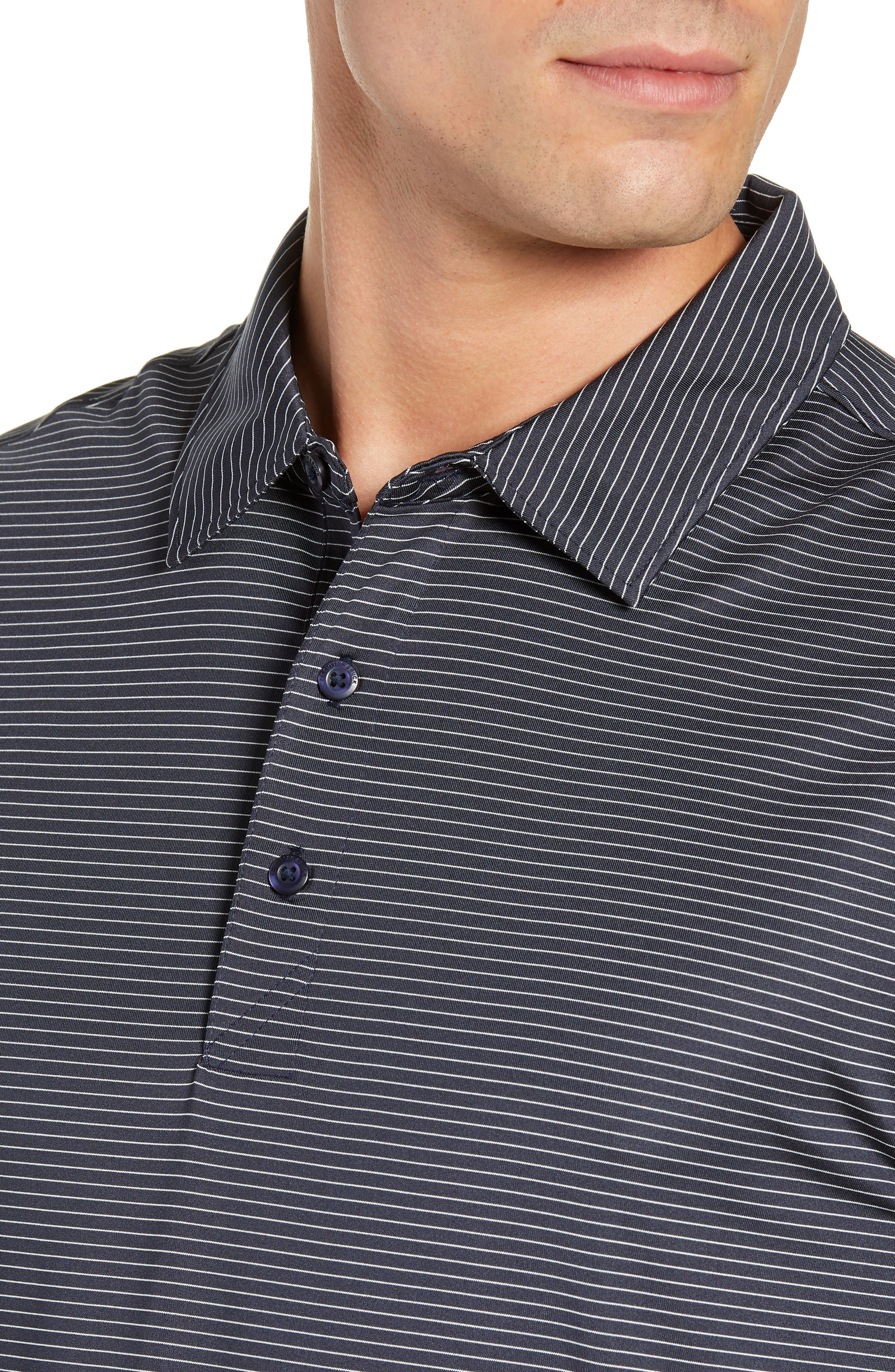 CUTTER & BUCK,                             Prevail Regular Fit Stripe Polo,                             Alternate thumbnail 4, color,                             LIBERTY NAVY