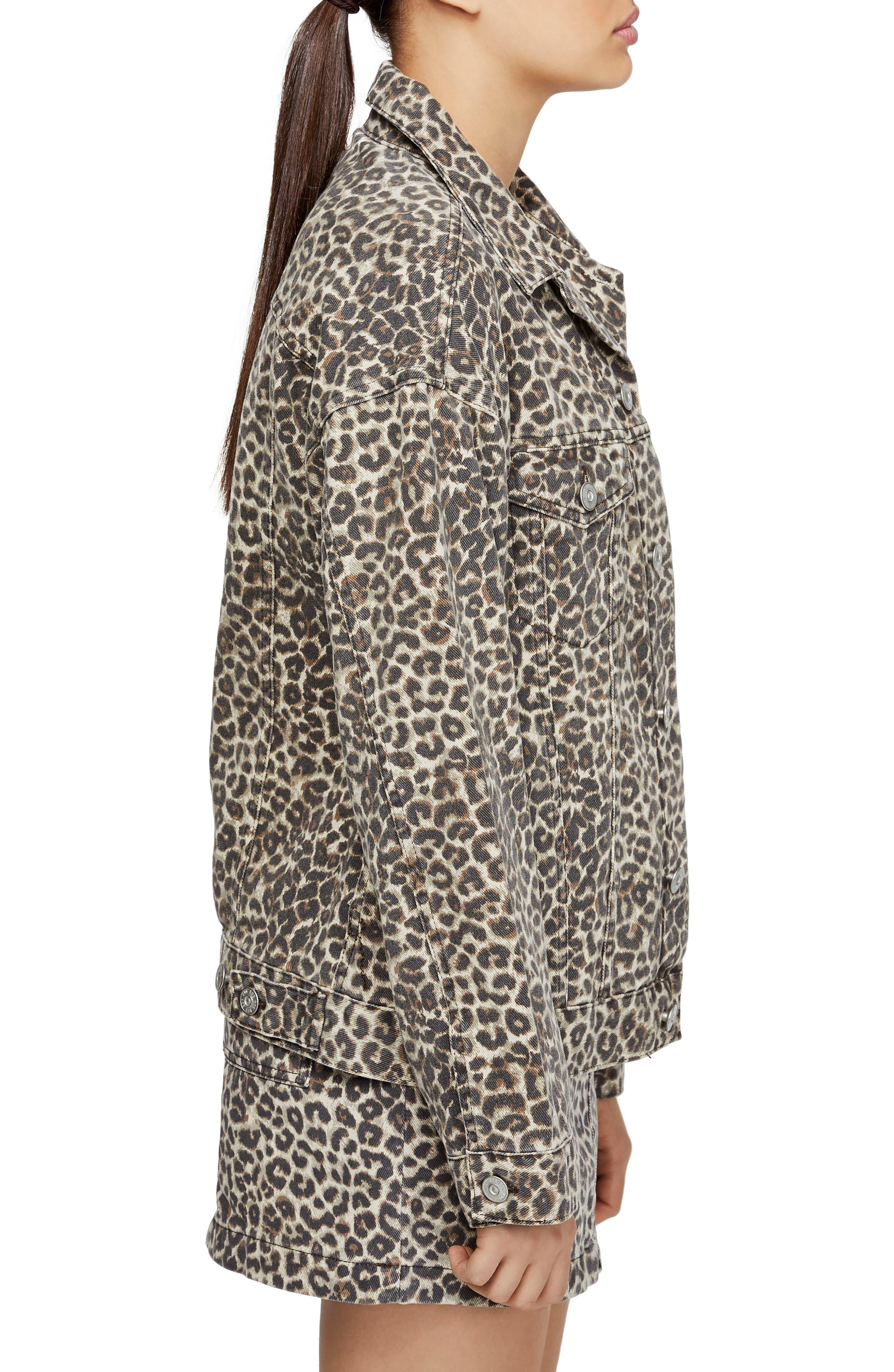 BDG,                             Urban Outfitters Leopard Denim Western Jacket,                             Alternate thumbnail 3, color,                             LEOPARD