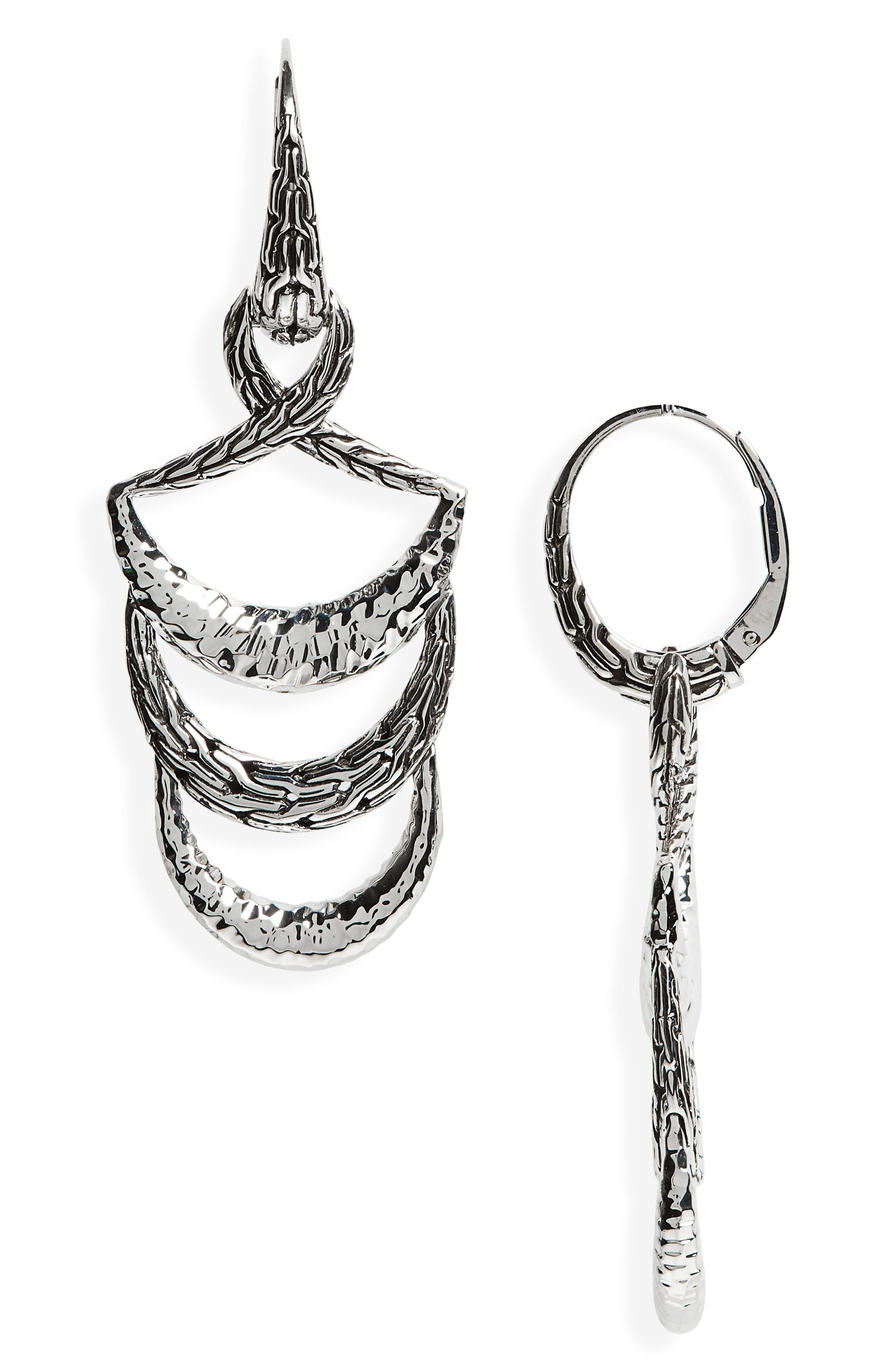 JOHN HARDY,                             Classic Chain Hammered Drop Earrings,                             Main thumbnail 1, color,                             SILVER