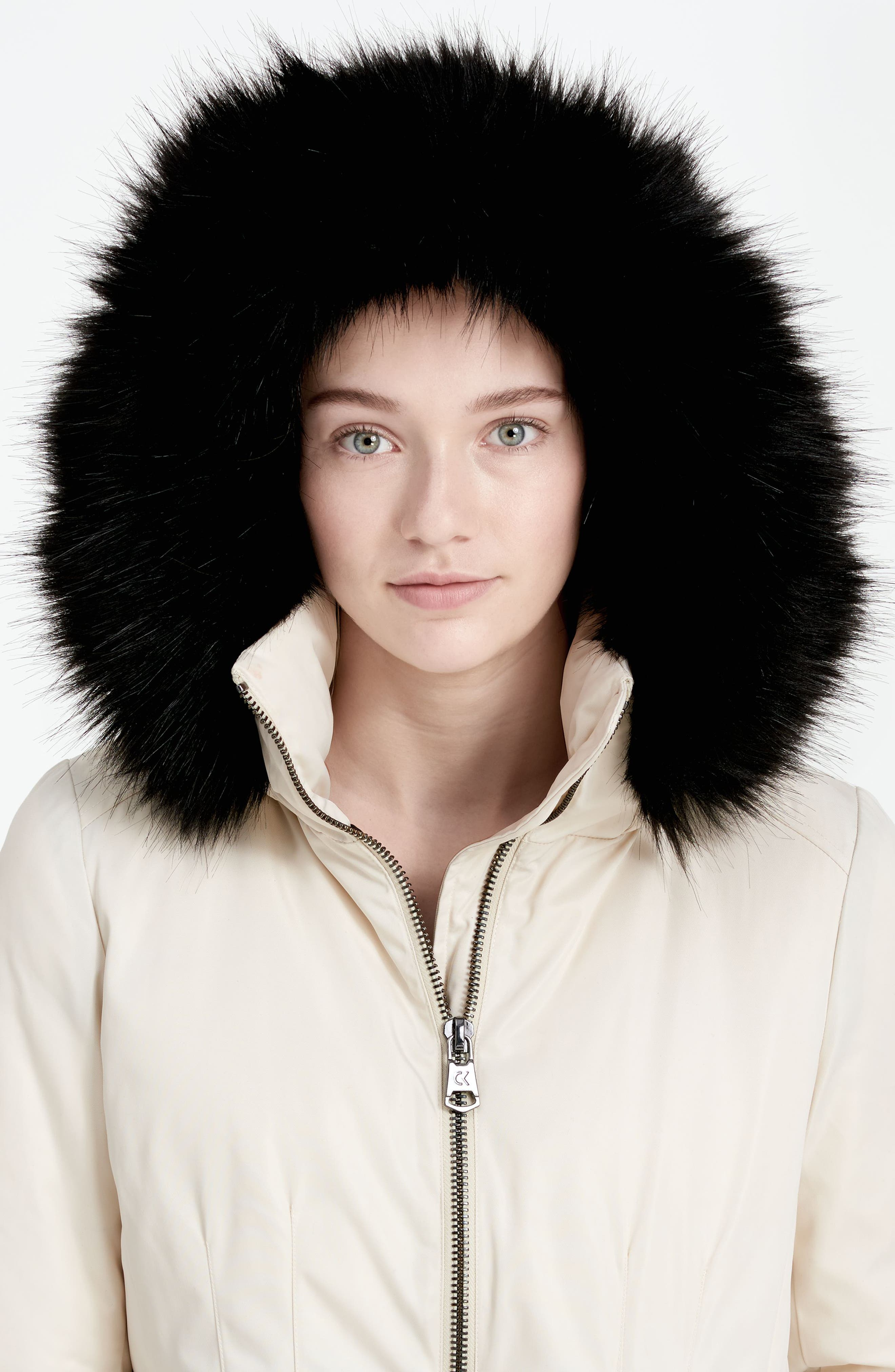 Calvien Klein Hooded Down Parka with Removable Faux Fur Collar,                             Alternate thumbnail 6, color,